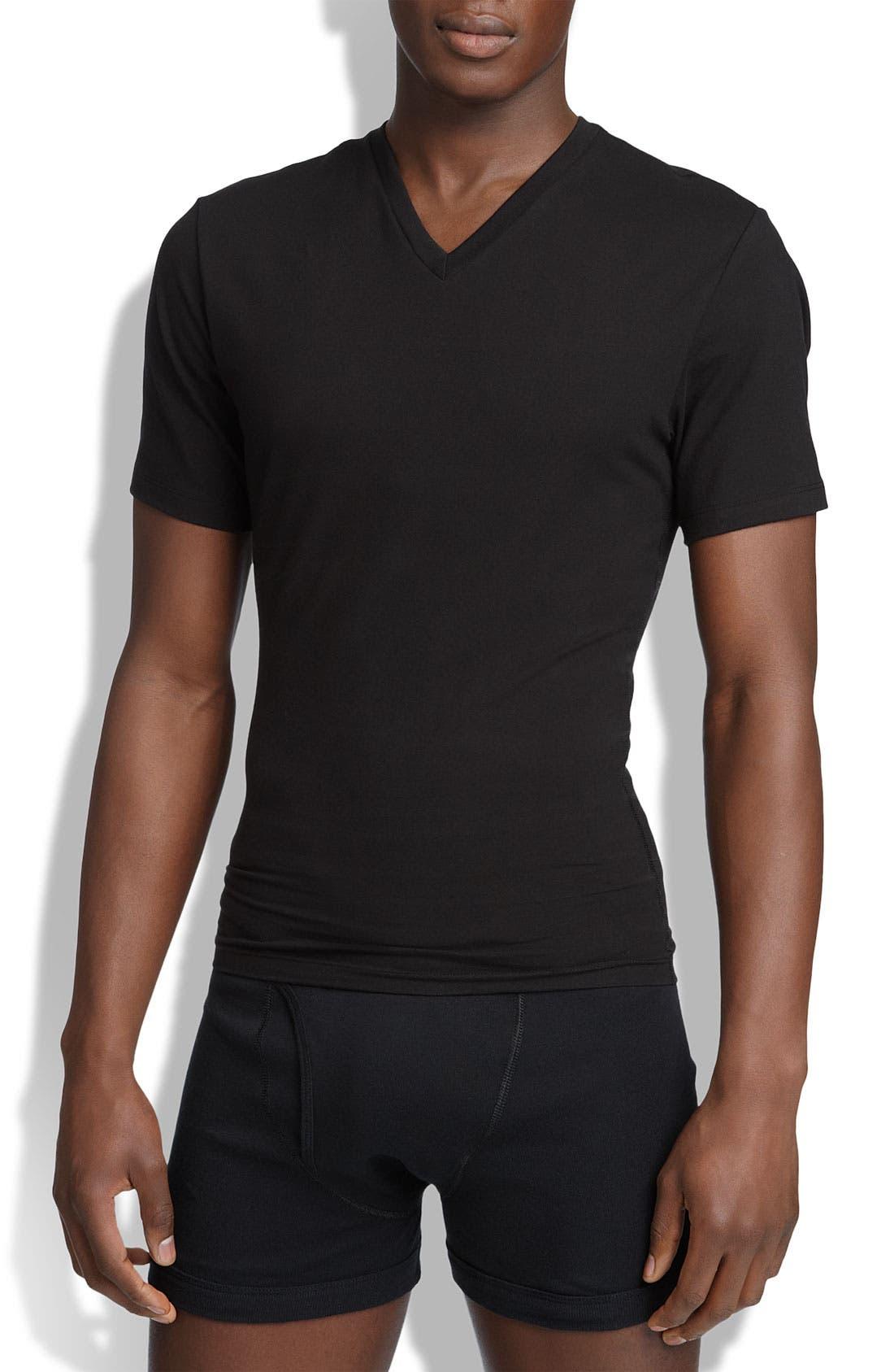 SPANX<SUP>®</SUP>, V-Neck Cotton Compression T-Shirt, Main thumbnail 1, color, BLACK