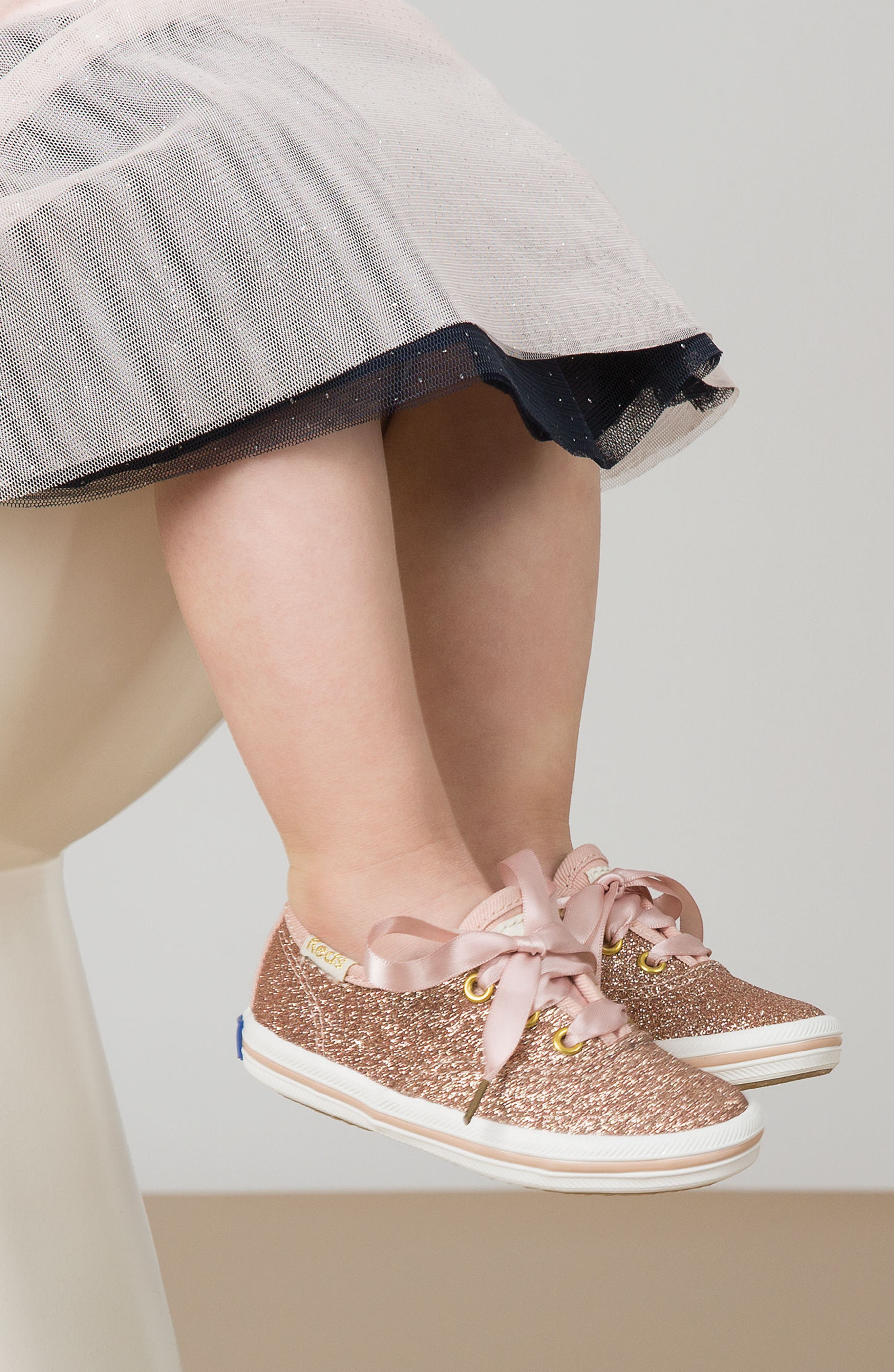 KEDS<SUP>®</SUP>, x kate spade new york Champion Glitter Sneaker, Alternate thumbnail 7, color, BLACK