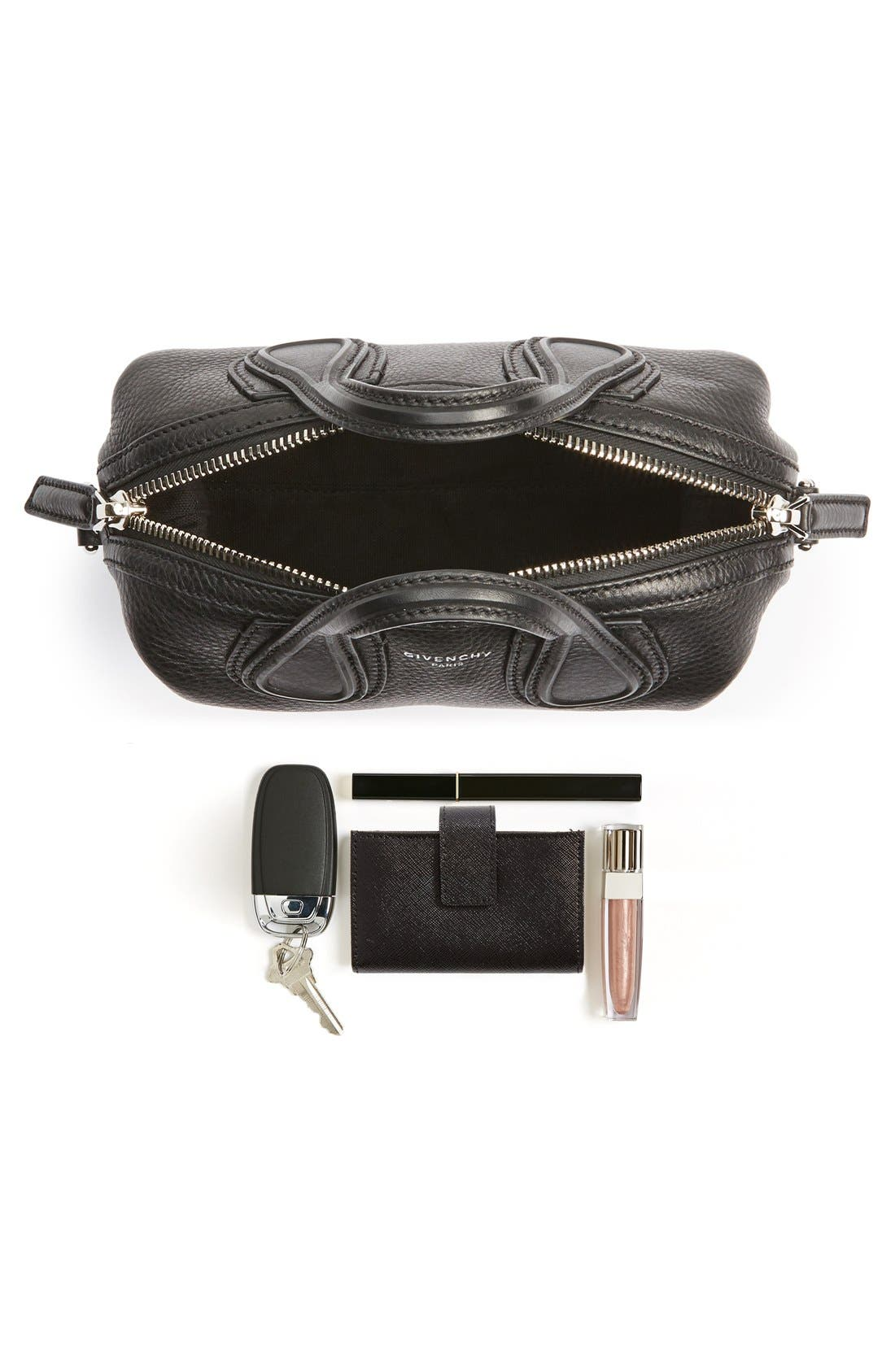 GIVENCHY, Micro Nightingale Leather Satchel, Alternate thumbnail 4, color, 001