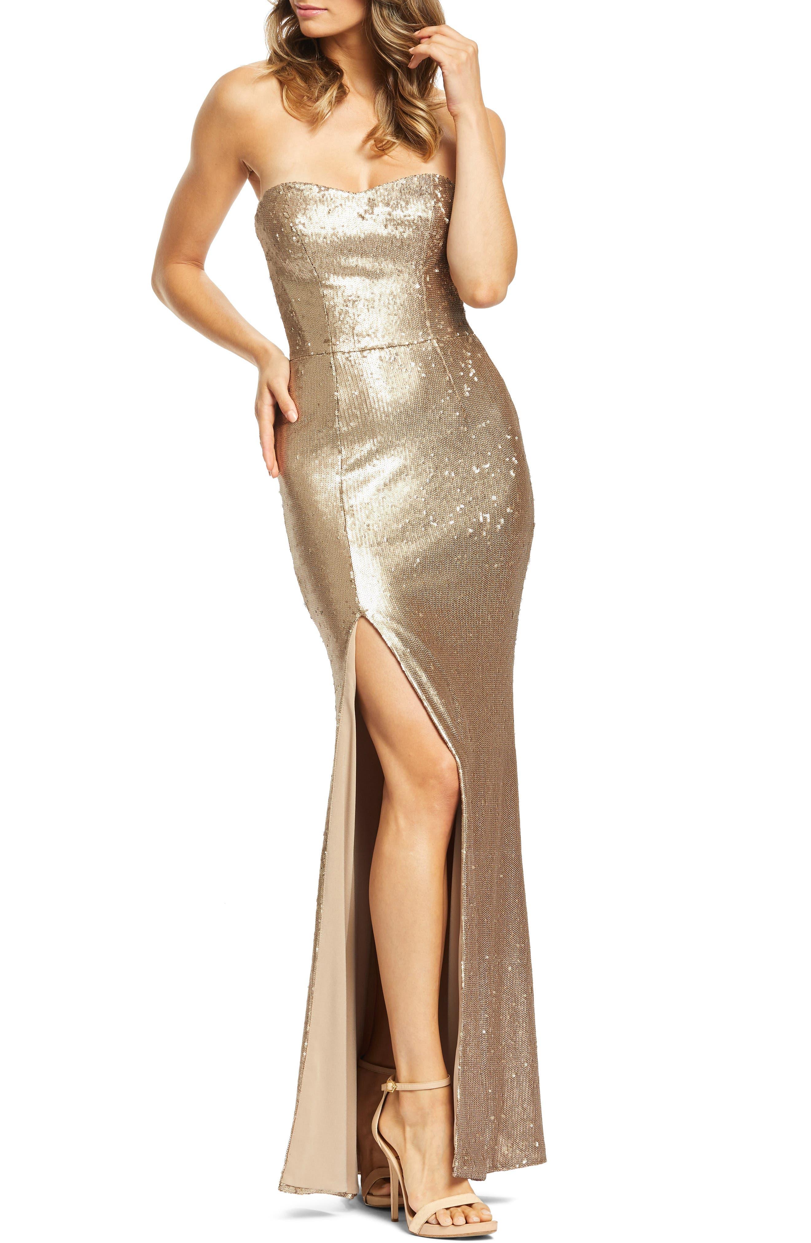 DRESS THE POPULATION, Ellen Strapless Sequin Evening Dress, Main thumbnail 1, color, BRONZE