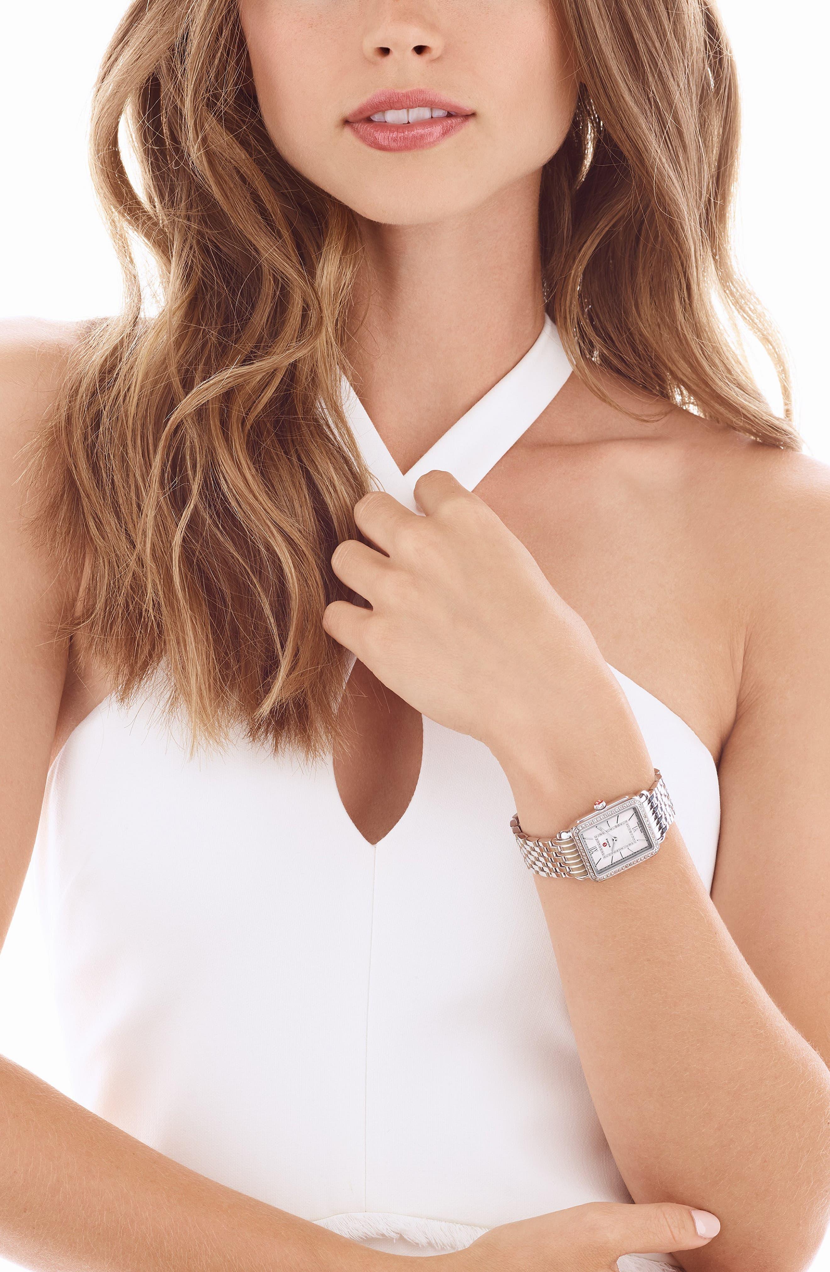 MICHELE, Deco II Mid 16mm Bracelet Watchband, Alternate thumbnail 2, color, SILVER