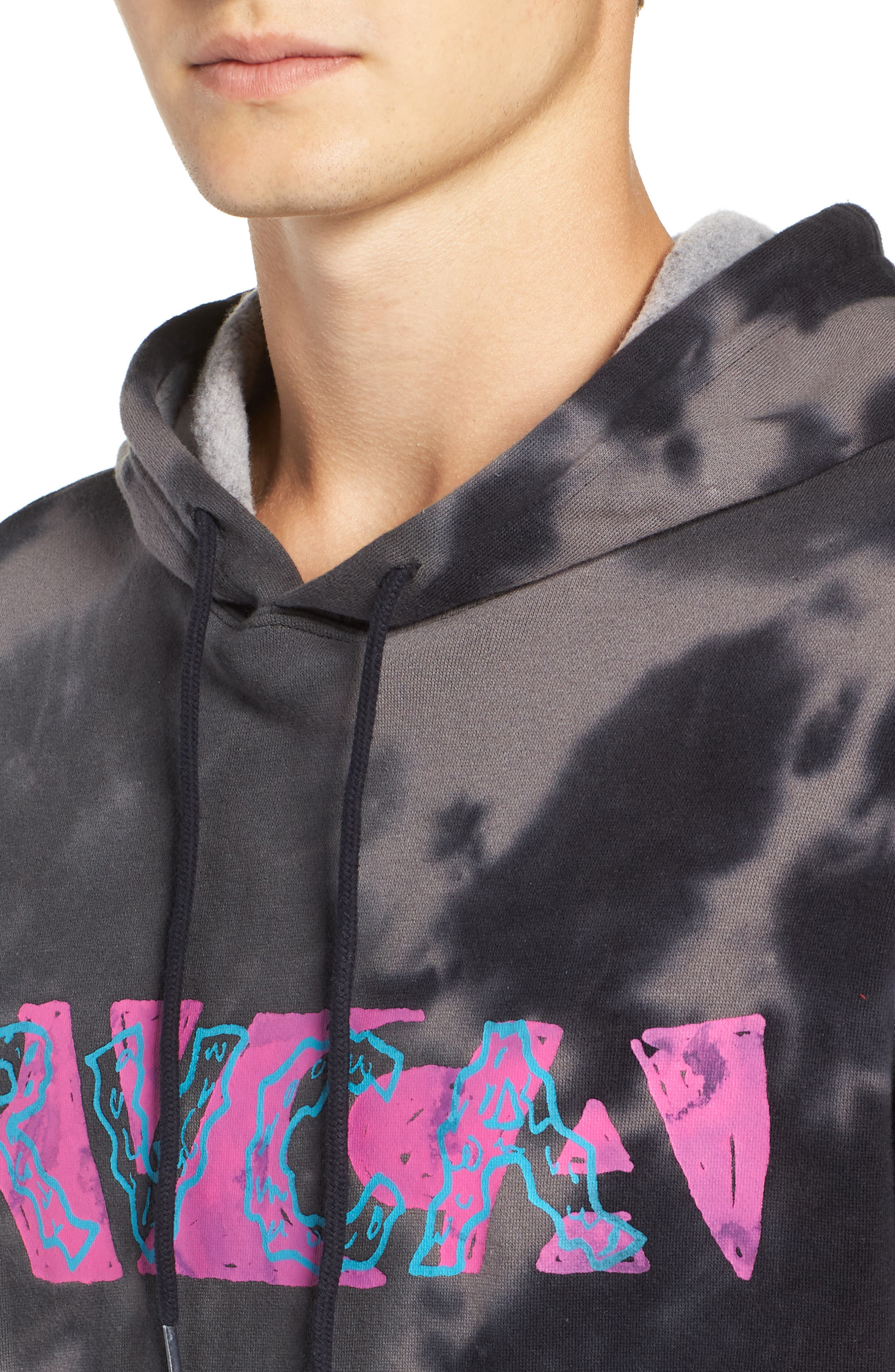 RVCA, Spatter Dyed Pullover Hoodie, Alternate thumbnail 4, color, BLACK