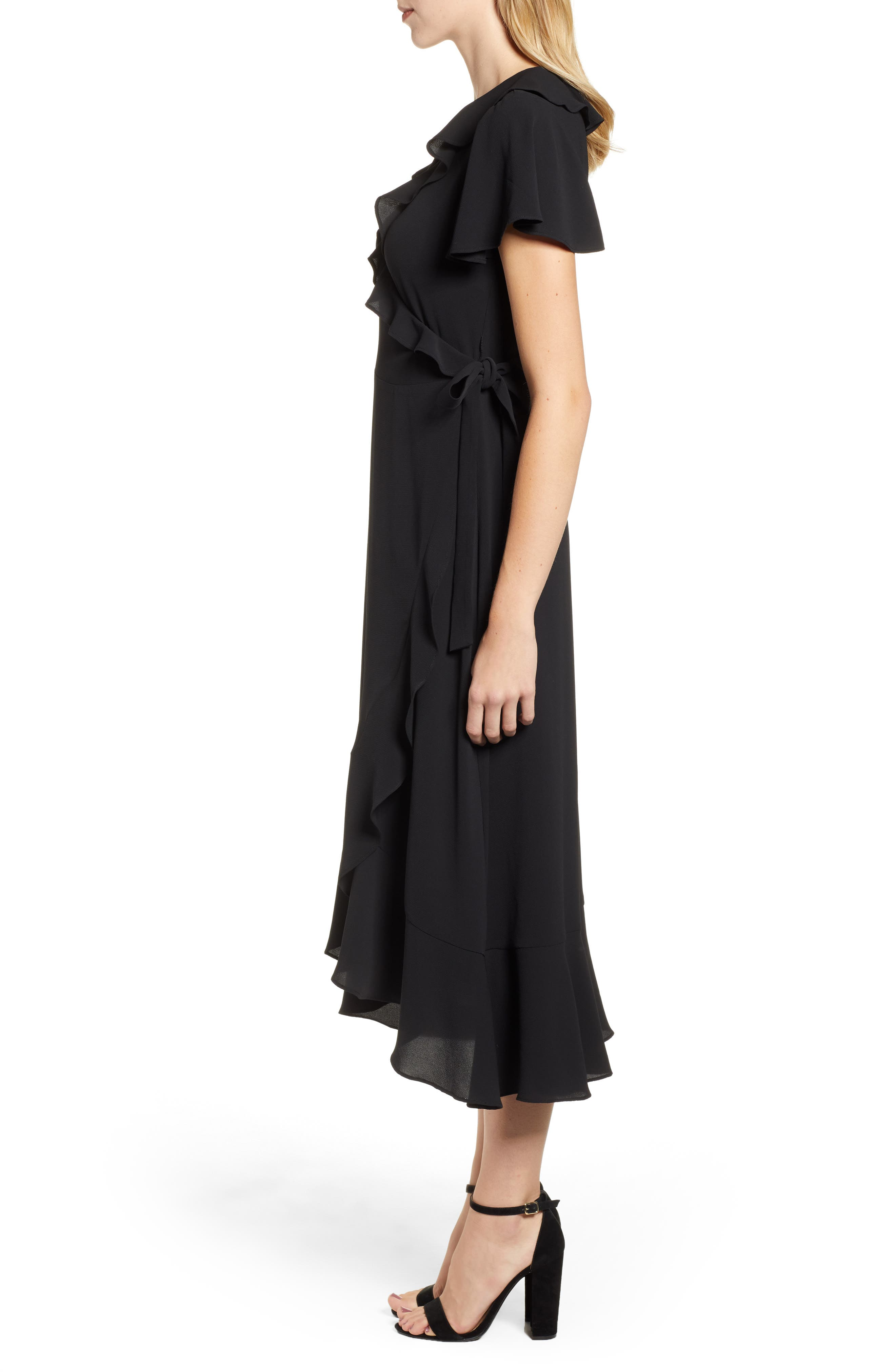 CHELSEA28, Ruffle Wrap Dress, Alternate thumbnail 4, color, BLACK