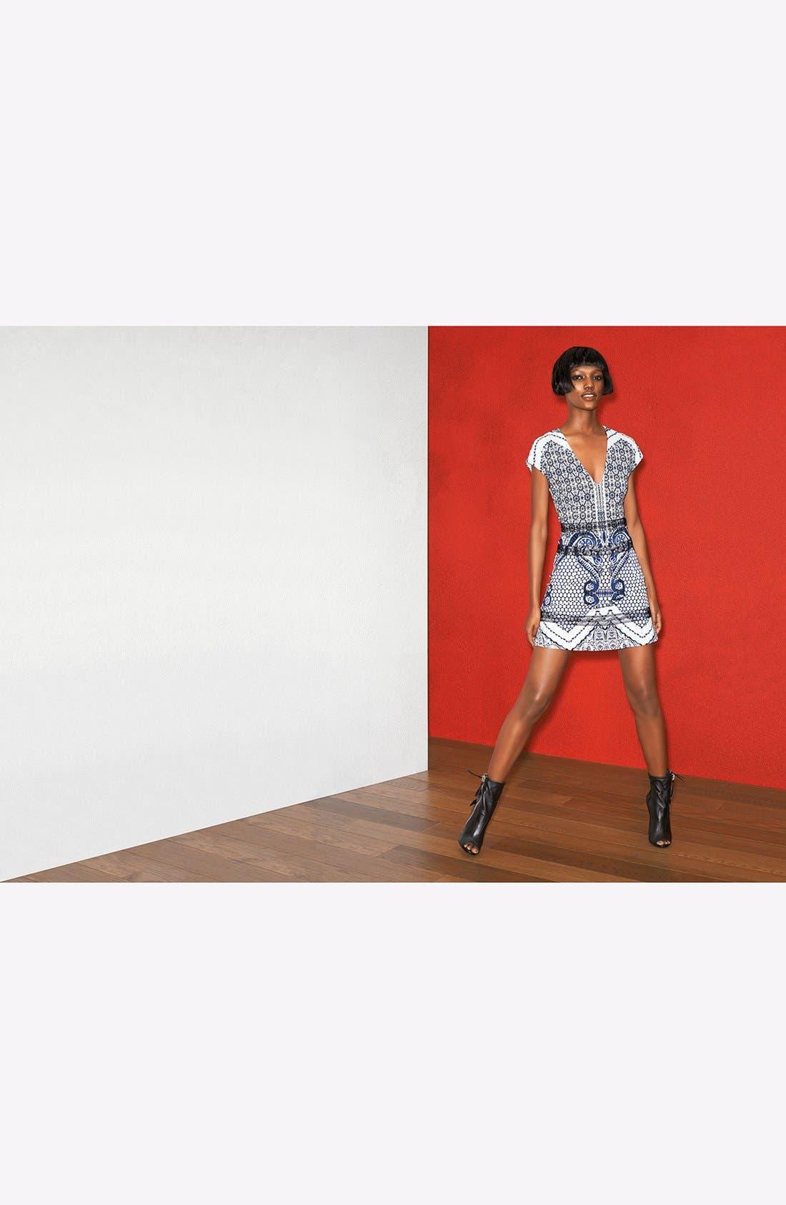 ROBERTO CAVALLI, Print Fit & Flare Dress, Alternate thumbnail 4, color, 400