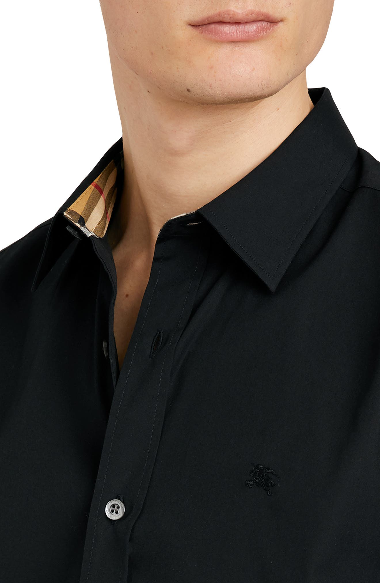 BURBERRY, William Stretch Poplin Sport Shirt, Alternate thumbnail 2, color, BLACK