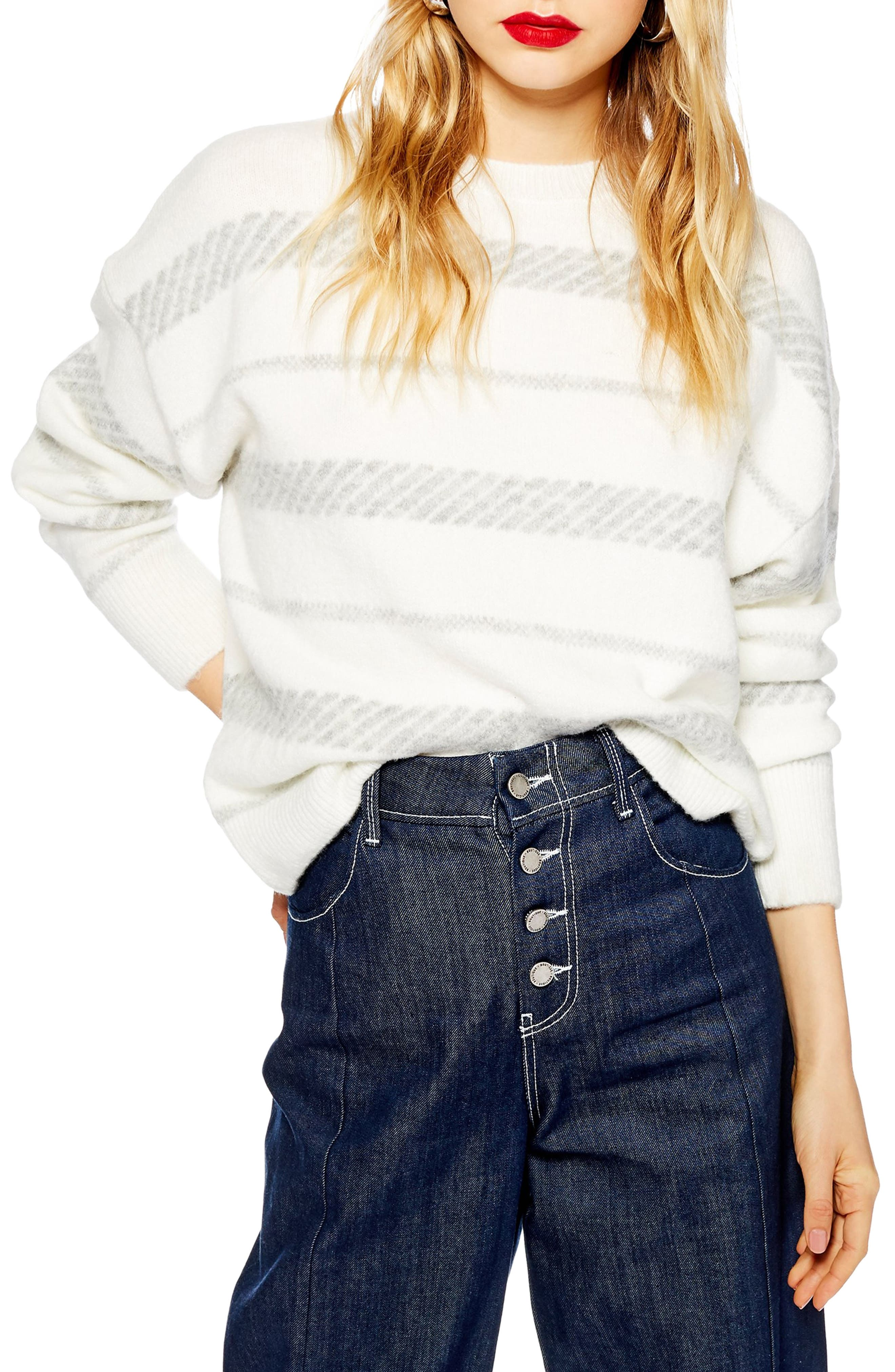 TOPSHOP, Supersoft Stripe Sweater, Main thumbnail 1, color, 900