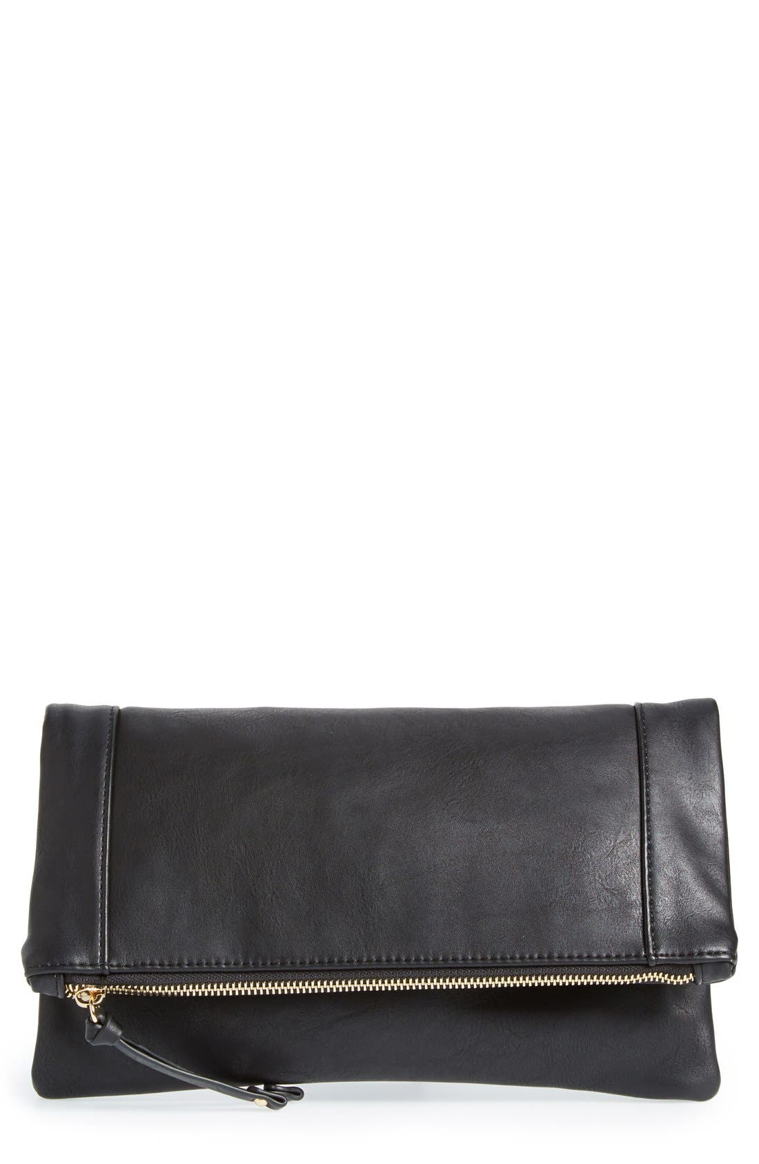 SOLE SOCIETY, Marlena Faux Leather Foldover Clutch, Main thumbnail 1, color, JET BLACK