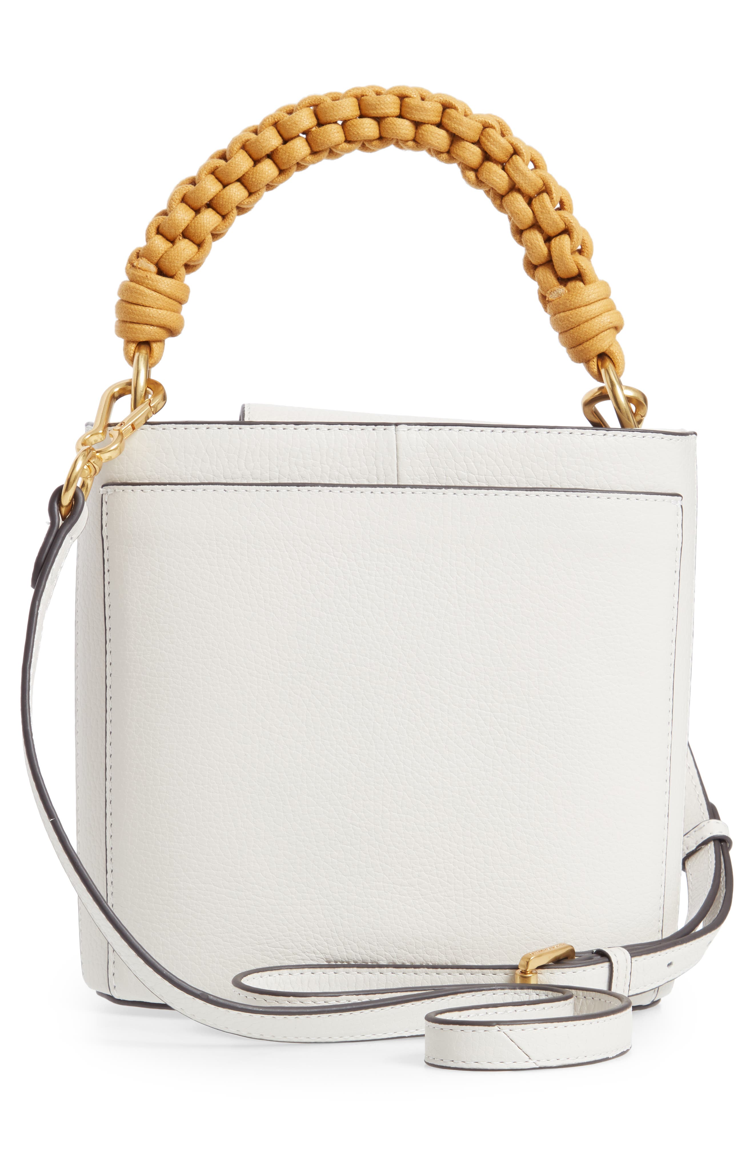 VINCE CAMUTO, Zane Leather Bucket Bag, Alternate thumbnail 3, color, SNOW WHITE