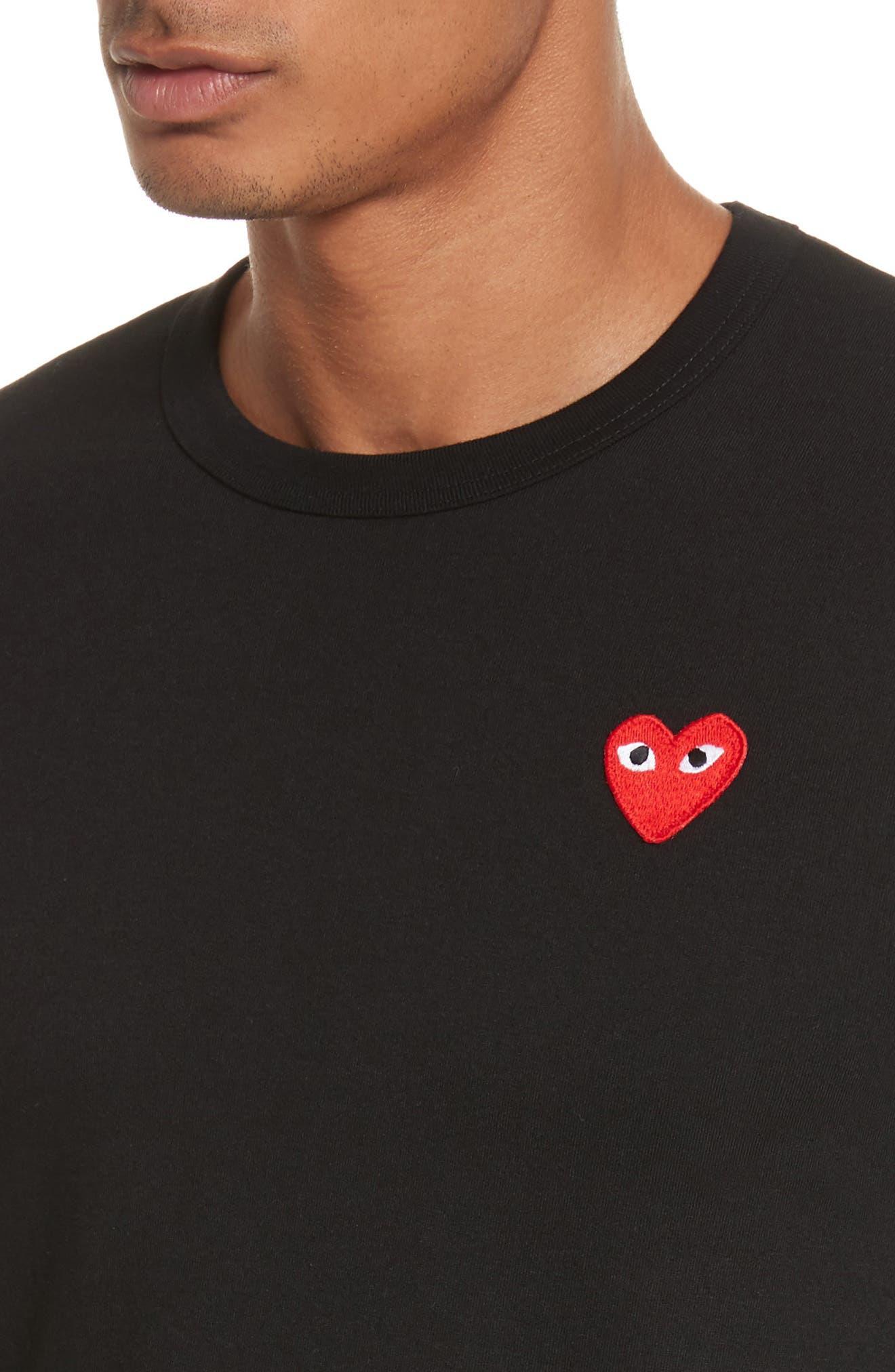 COMME DES GARÇONS PLAY, Long Sleeve T-Shirt, Alternate thumbnail 4, color, 001