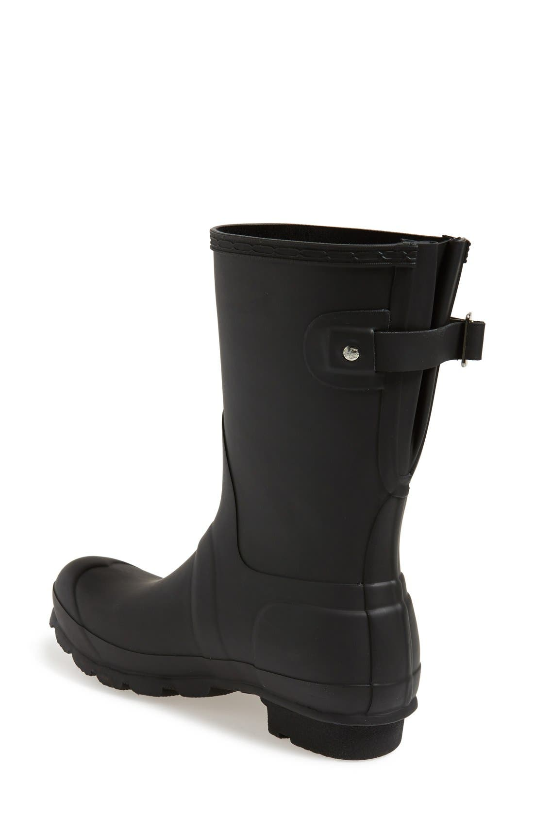 HUNTER, Original Short Back Adjustable Waterproof Rain Boot, Alternate thumbnail 2, color, BLACK