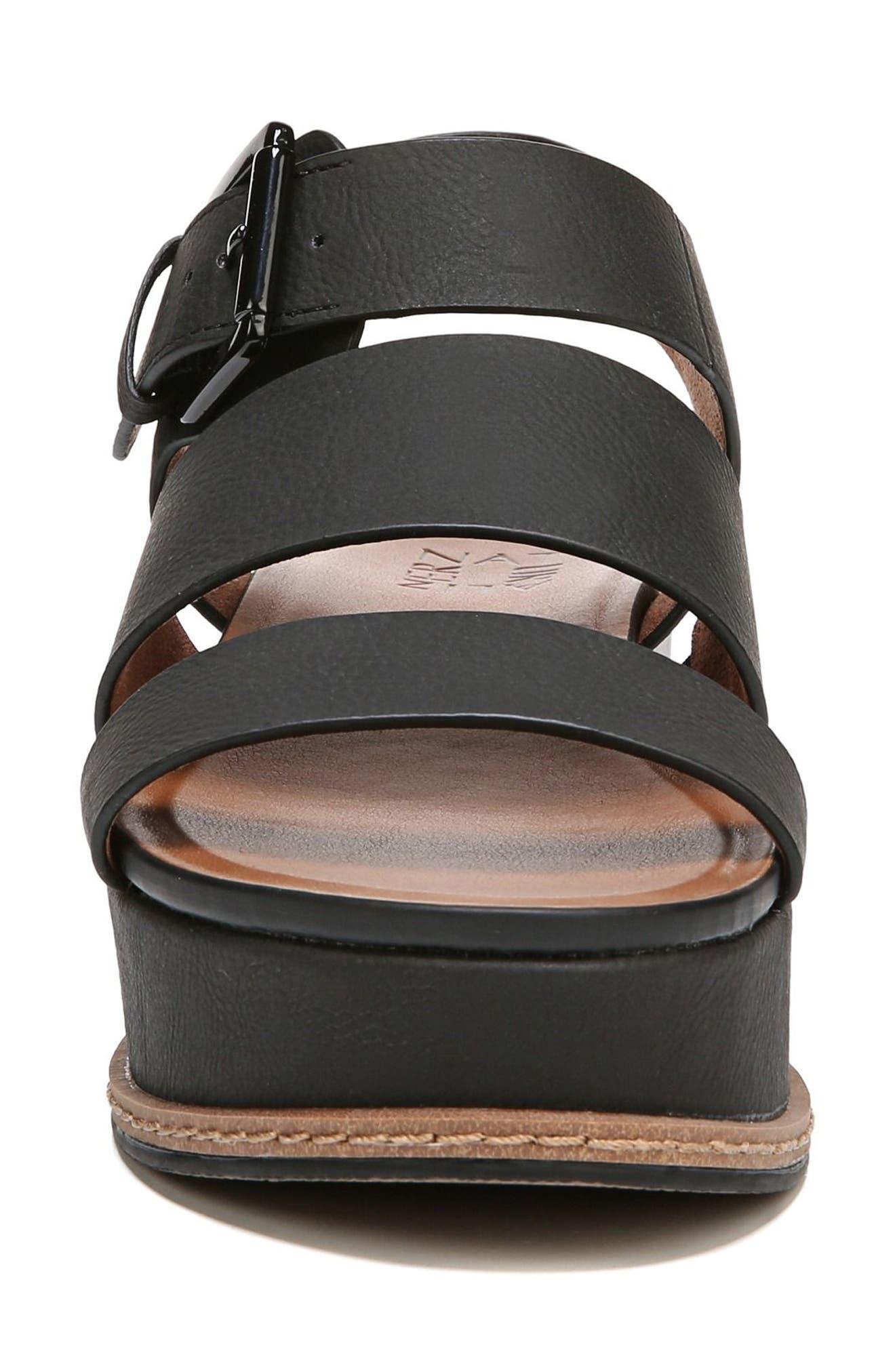 NATURALIZER, Billie Platform Sandal, Alternate thumbnail 4, color, BLACK FAUX NUBUCK LEATHER