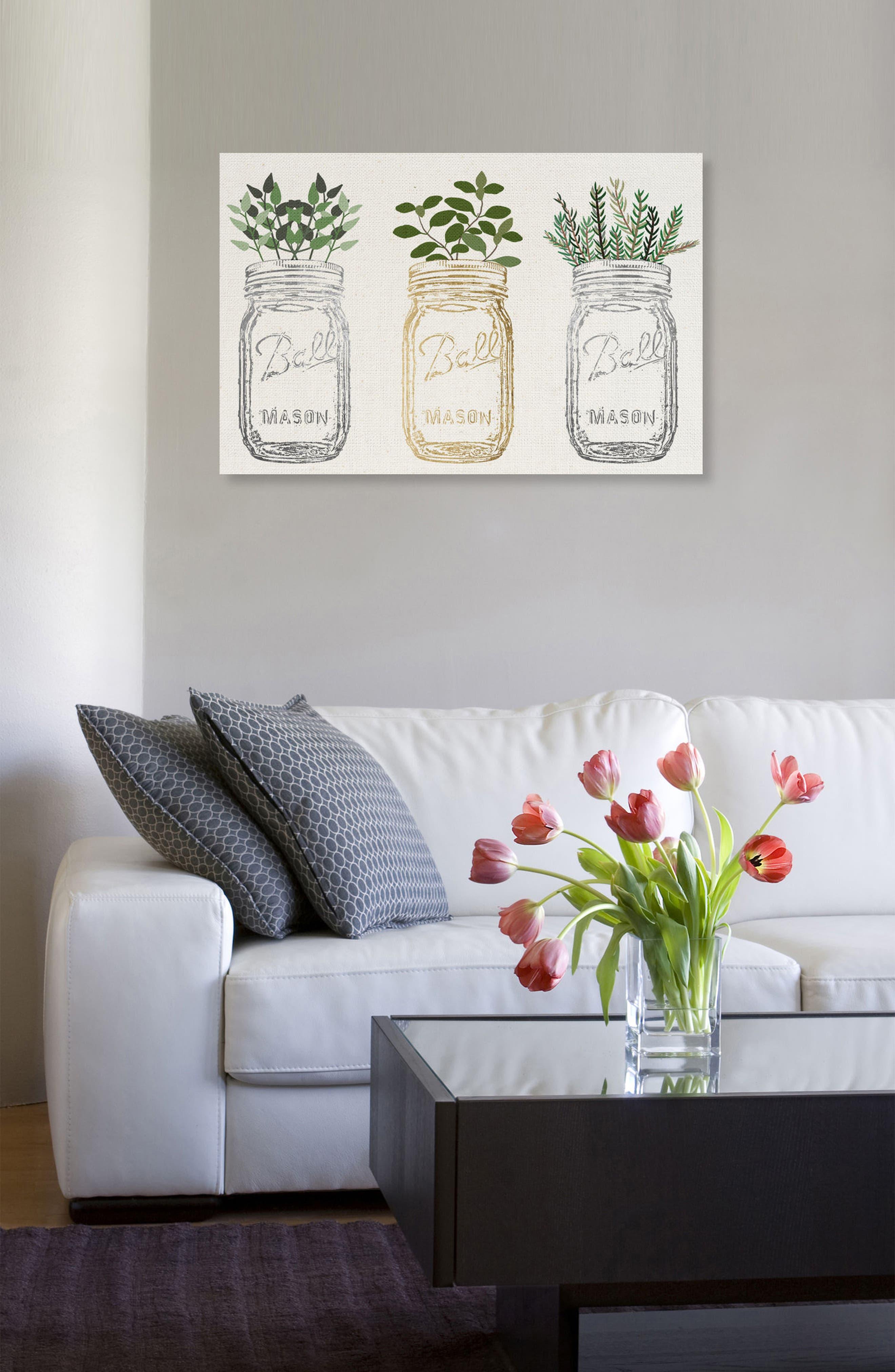 OLIVER GAL, Mason Jars & Plants Canvas Wall Art, Alternate thumbnail 2, color, WHITE