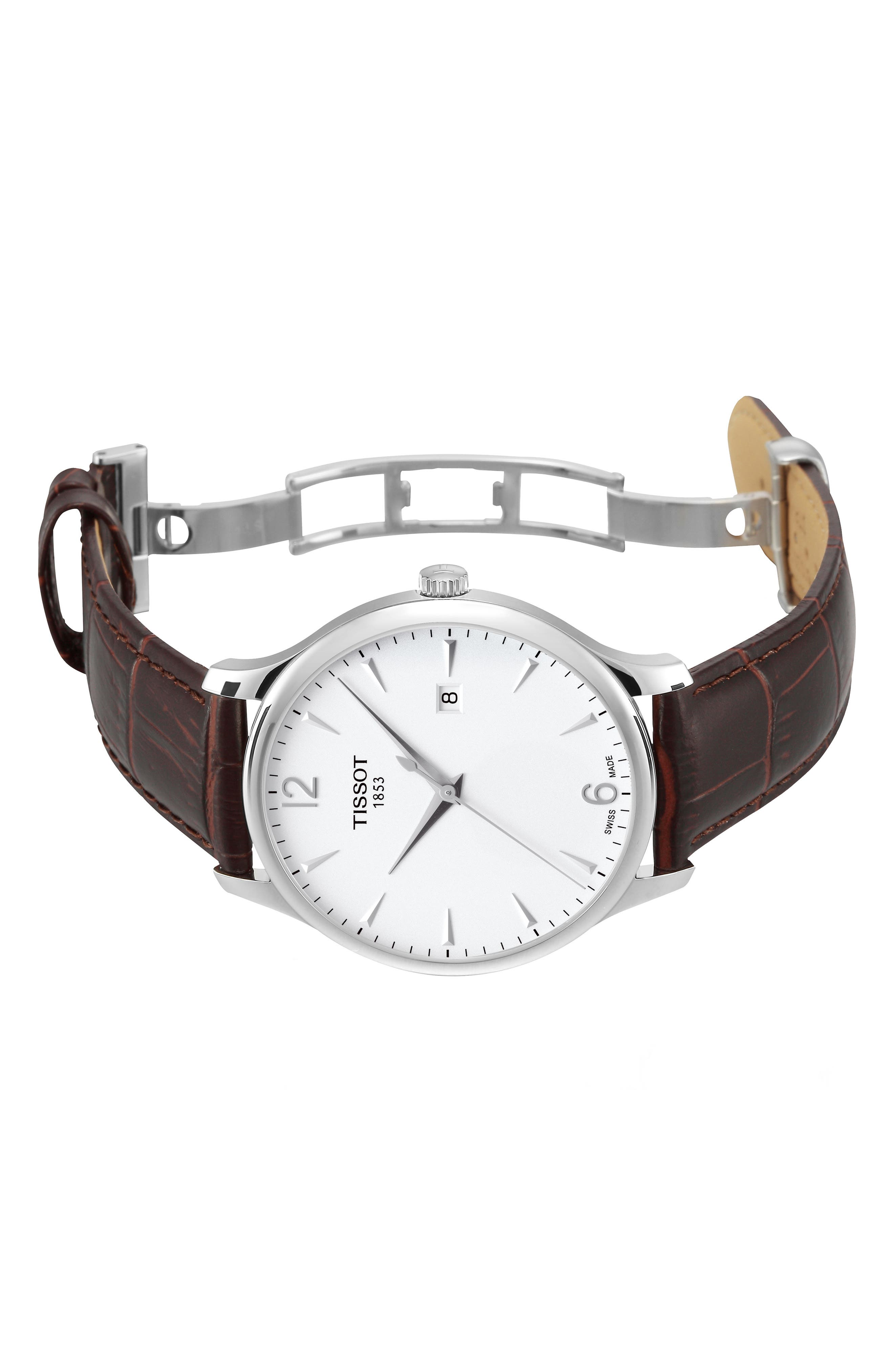 TISSOT, Tradition Leather Strap Watch, 42mm, Alternate thumbnail 8, color, BROWN/ SILVER