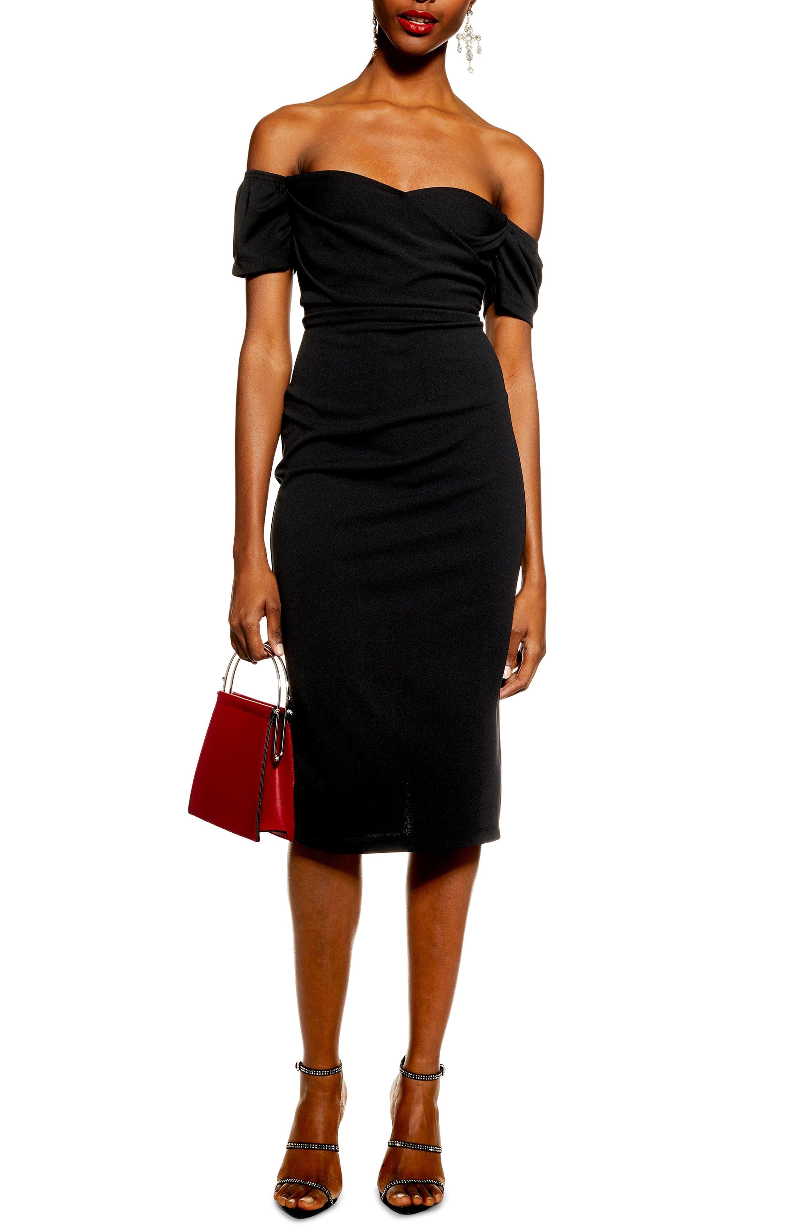 TOPSHOP, Off the Shoulder Wrap Midi Dress, Main thumbnail 1, color, BLACK