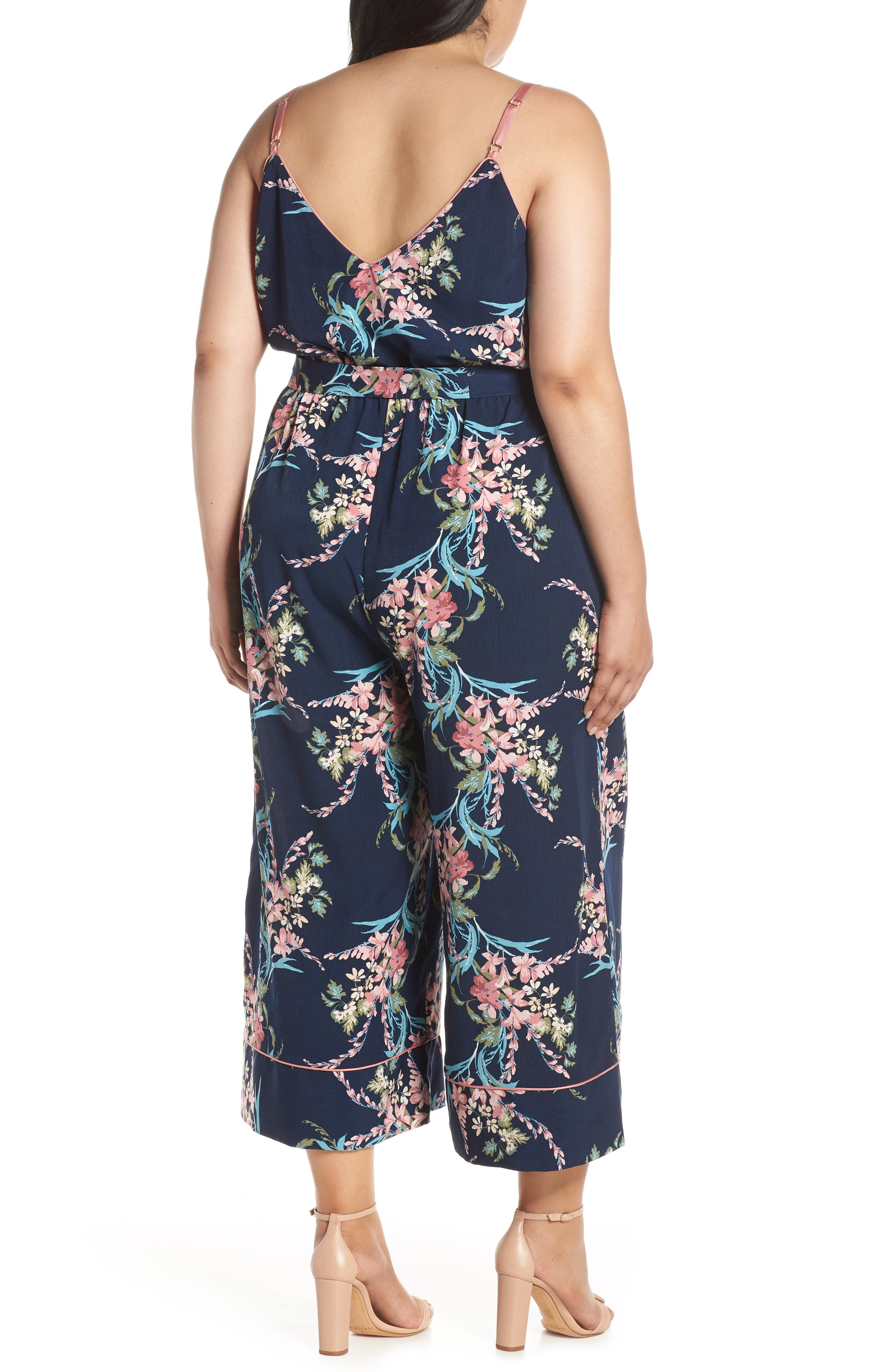 LEITH, Piped Cami Jumpsuit, Alternate thumbnail 9, color, NAVY PEACOAT FEM FLORAL