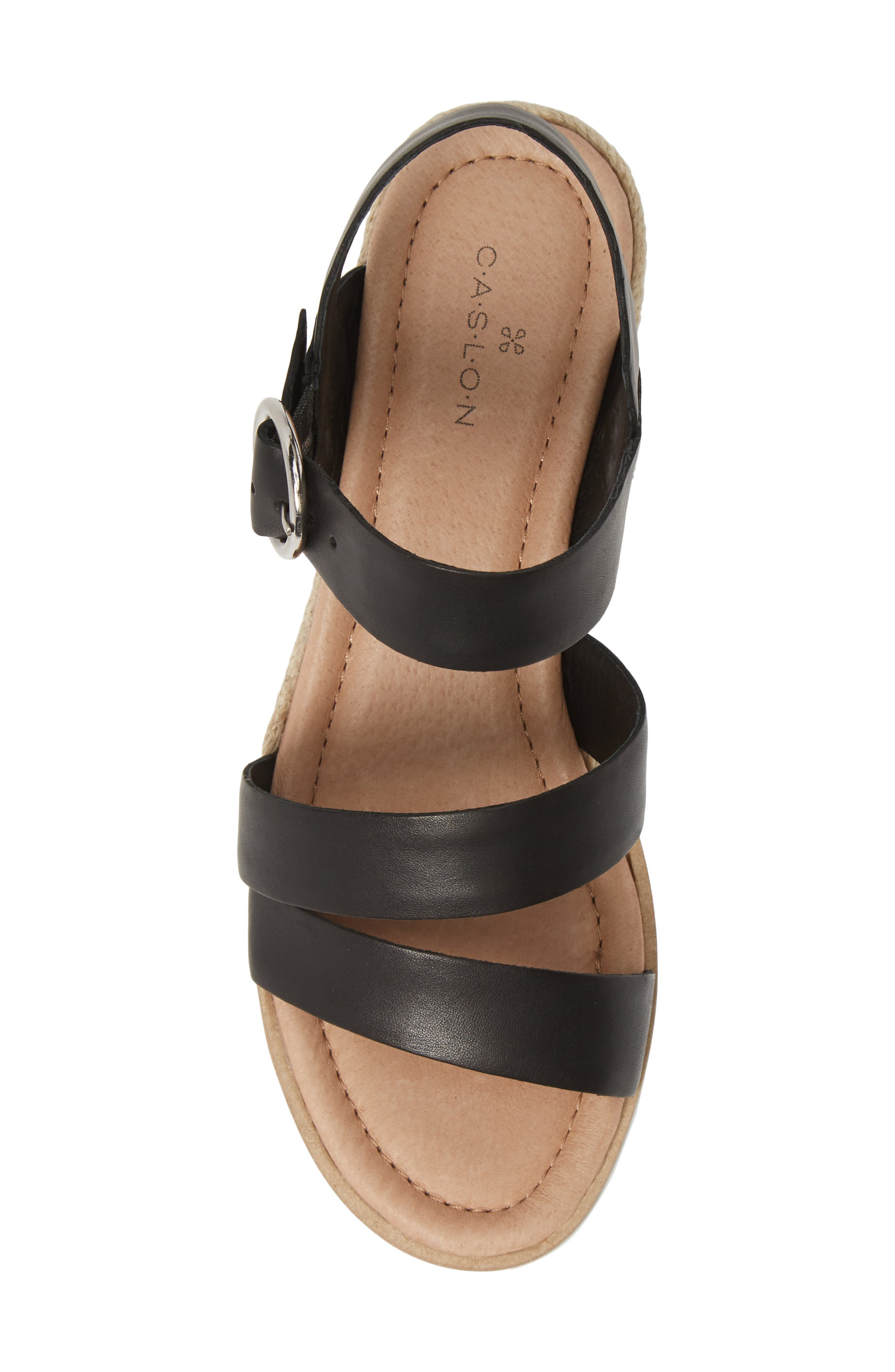 CASLON<SUP>®</SUP>, Caslon Cameron Espadrille Wedge Sandal, Alternate thumbnail 5, color, BLACK LEATHER