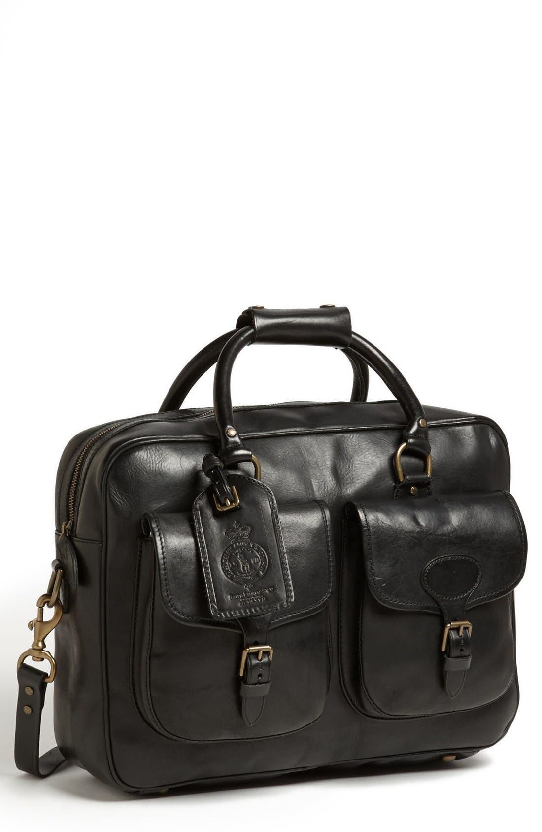 POLO RALPH LAUREN, Leather Commuter Bag, Main thumbnail 1, color, 001