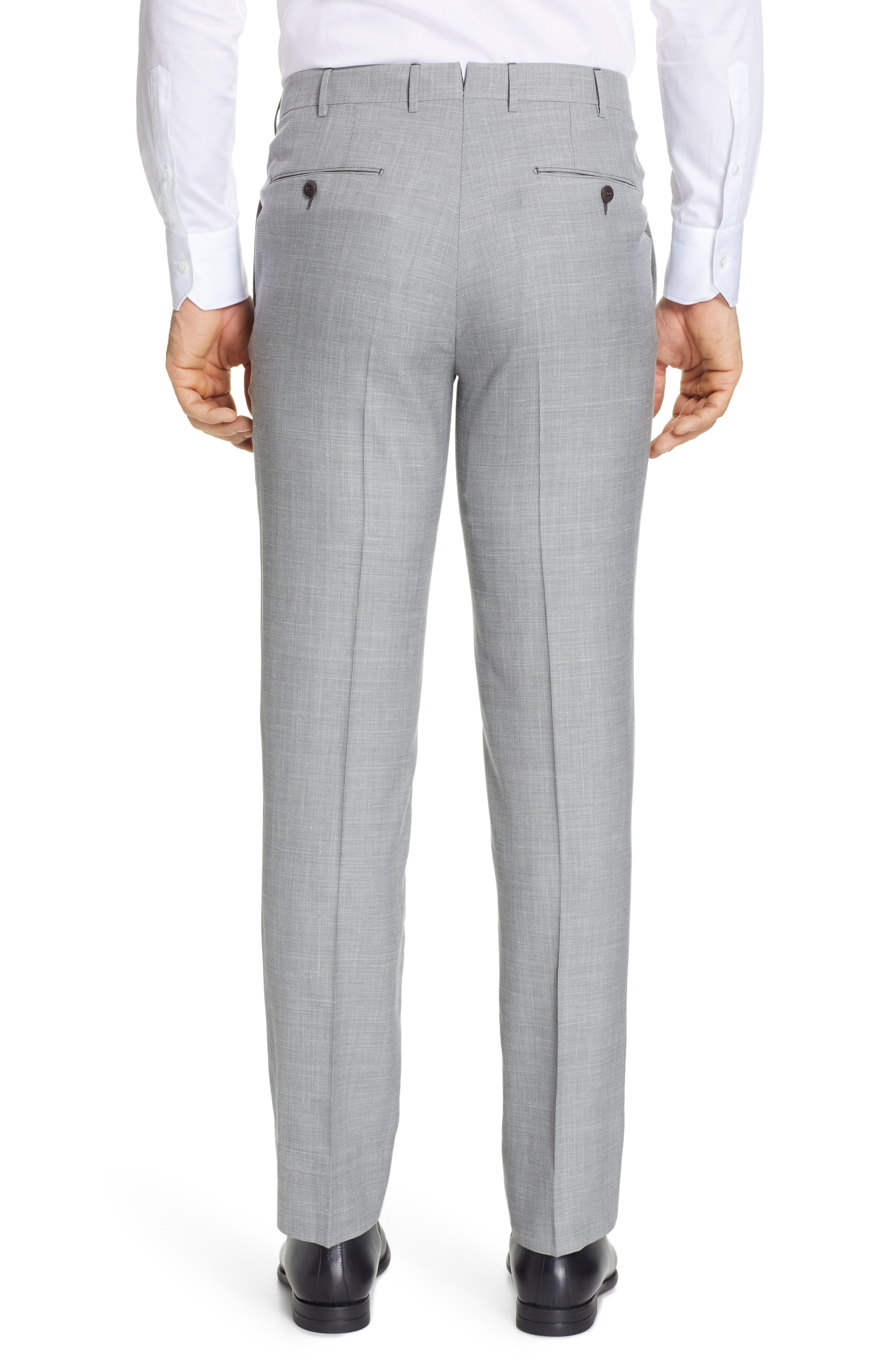 ERMENEGILDO ZEGNA, Trofeo Flat Front Solid Wool Blend Trousers, Alternate thumbnail 2, color, LIGHT GREY