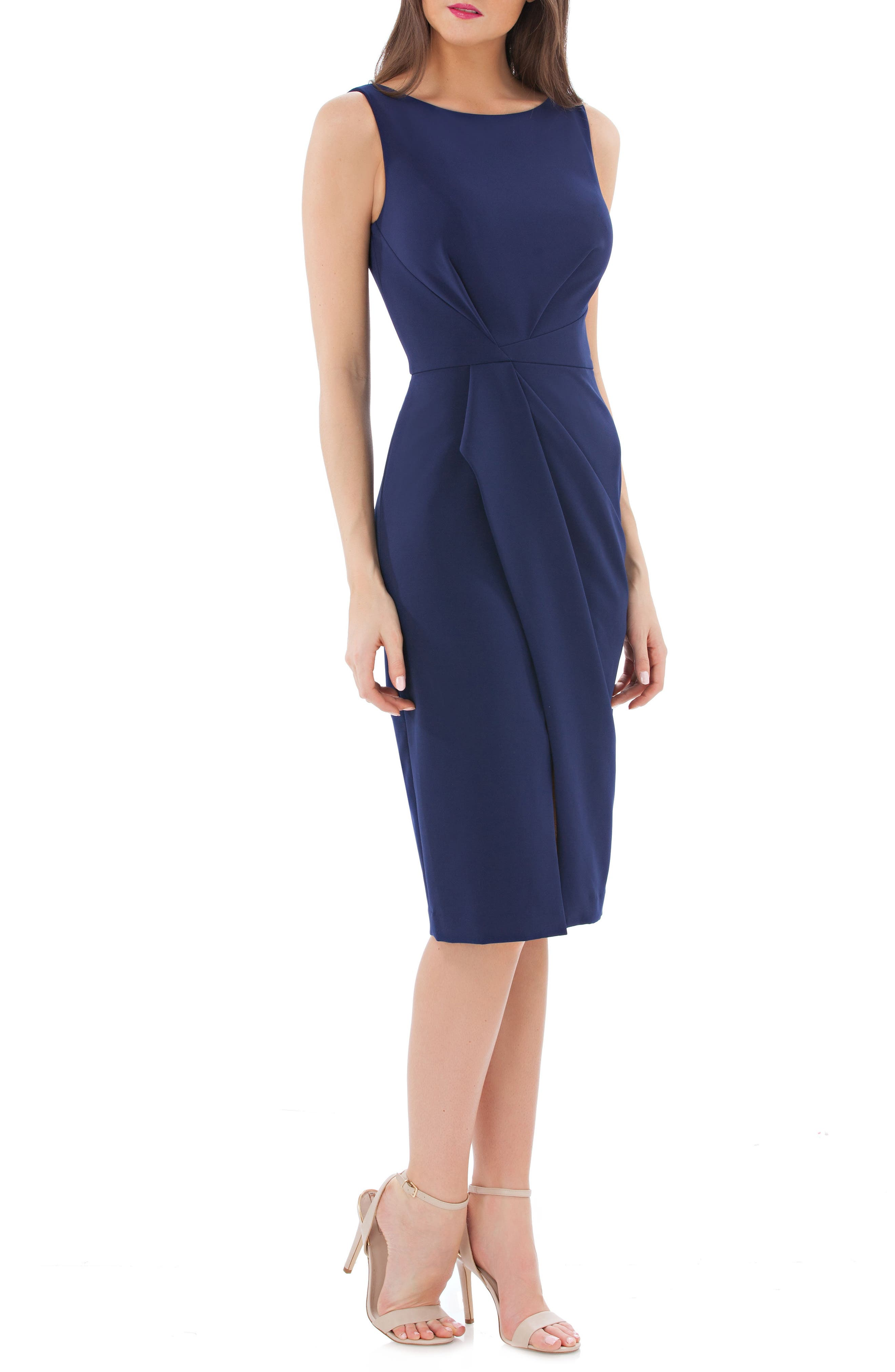 JS COLLECTIONS, Pleated Crepe Cocktail Dress, Main thumbnail 1, color, NAVY