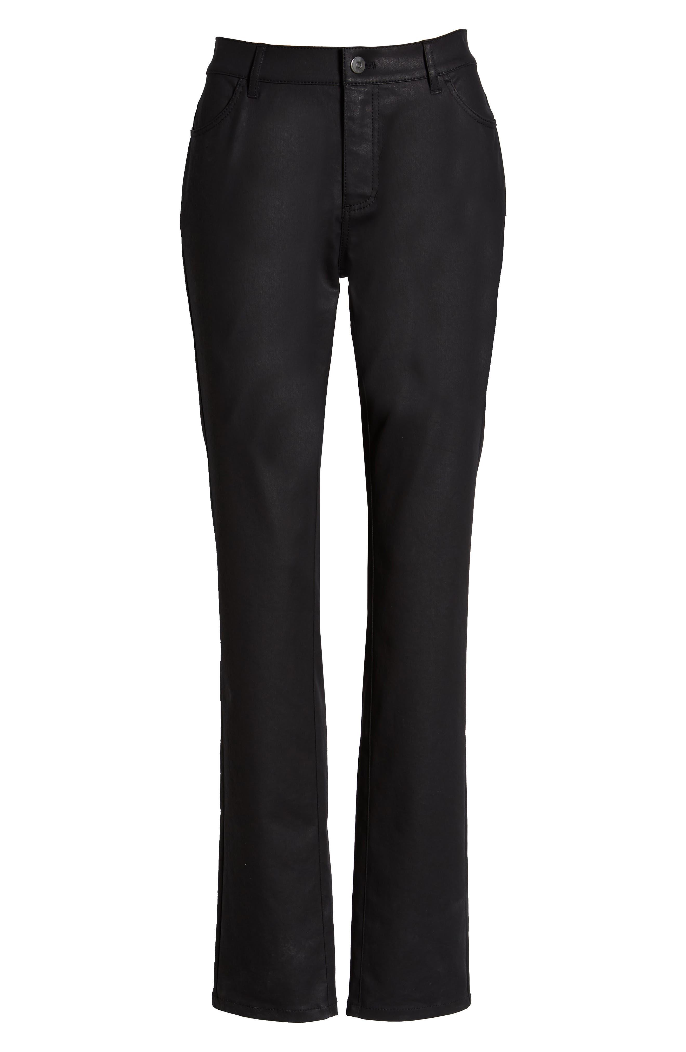 LAFAYETTE 148 NEW YORK, Waxed Denim Slim Leg Jeans, Alternate thumbnail 2, color, INK