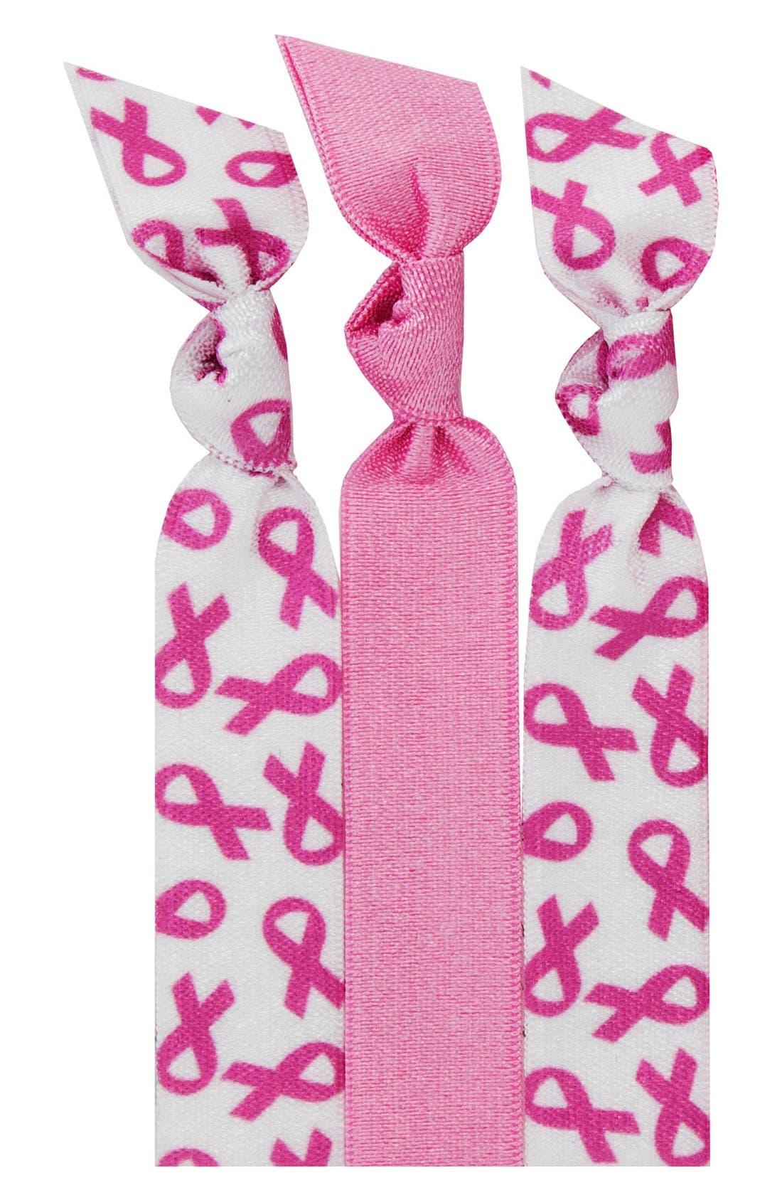EMI-JAY, 'Pink Ribbon' Hair Ties, Main thumbnail 1, color, 000