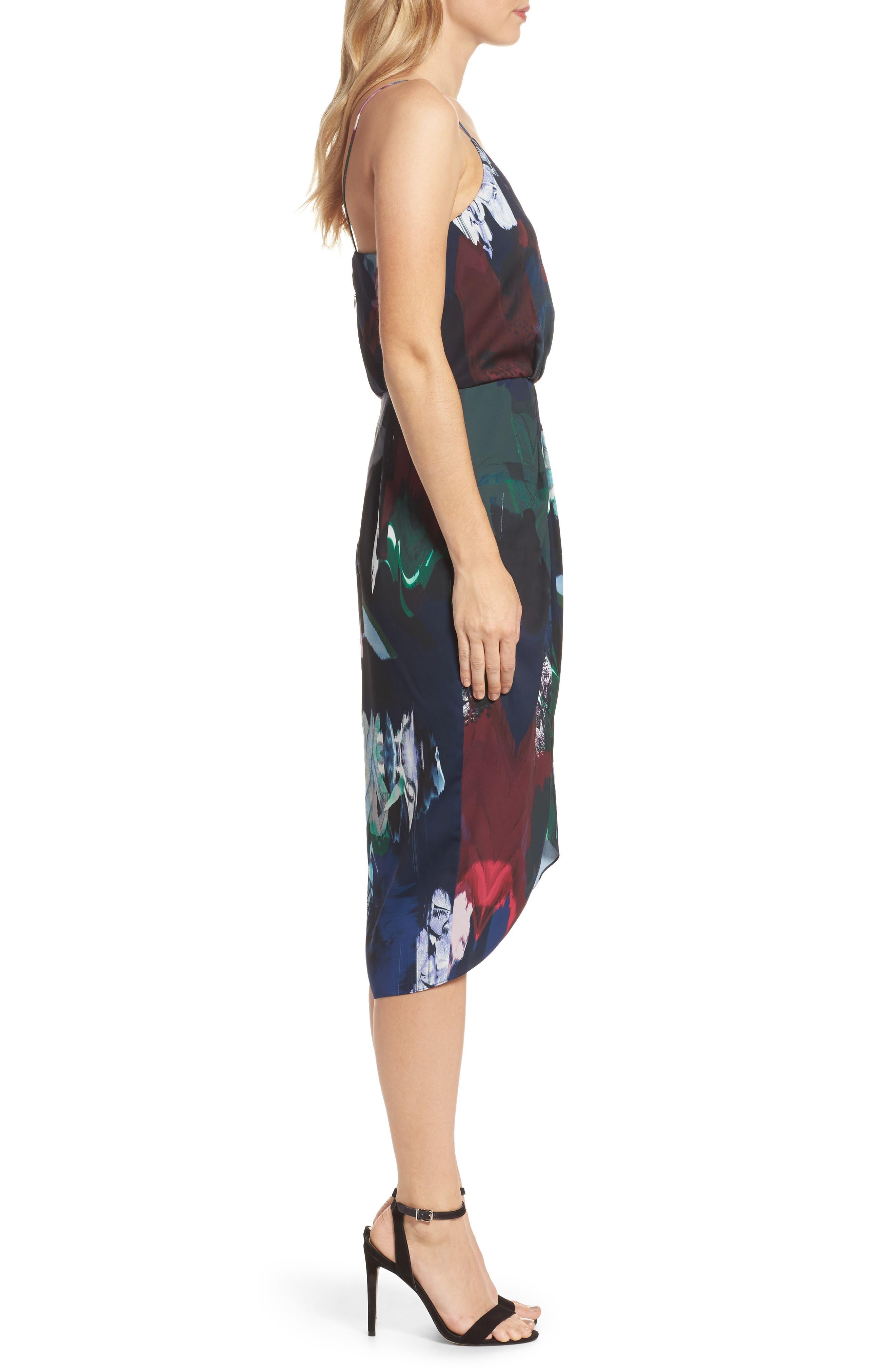 CHELSEA28, Print Faux Wrap Dress, Alternate thumbnail 4, color, NAVY MIXED FLORAL