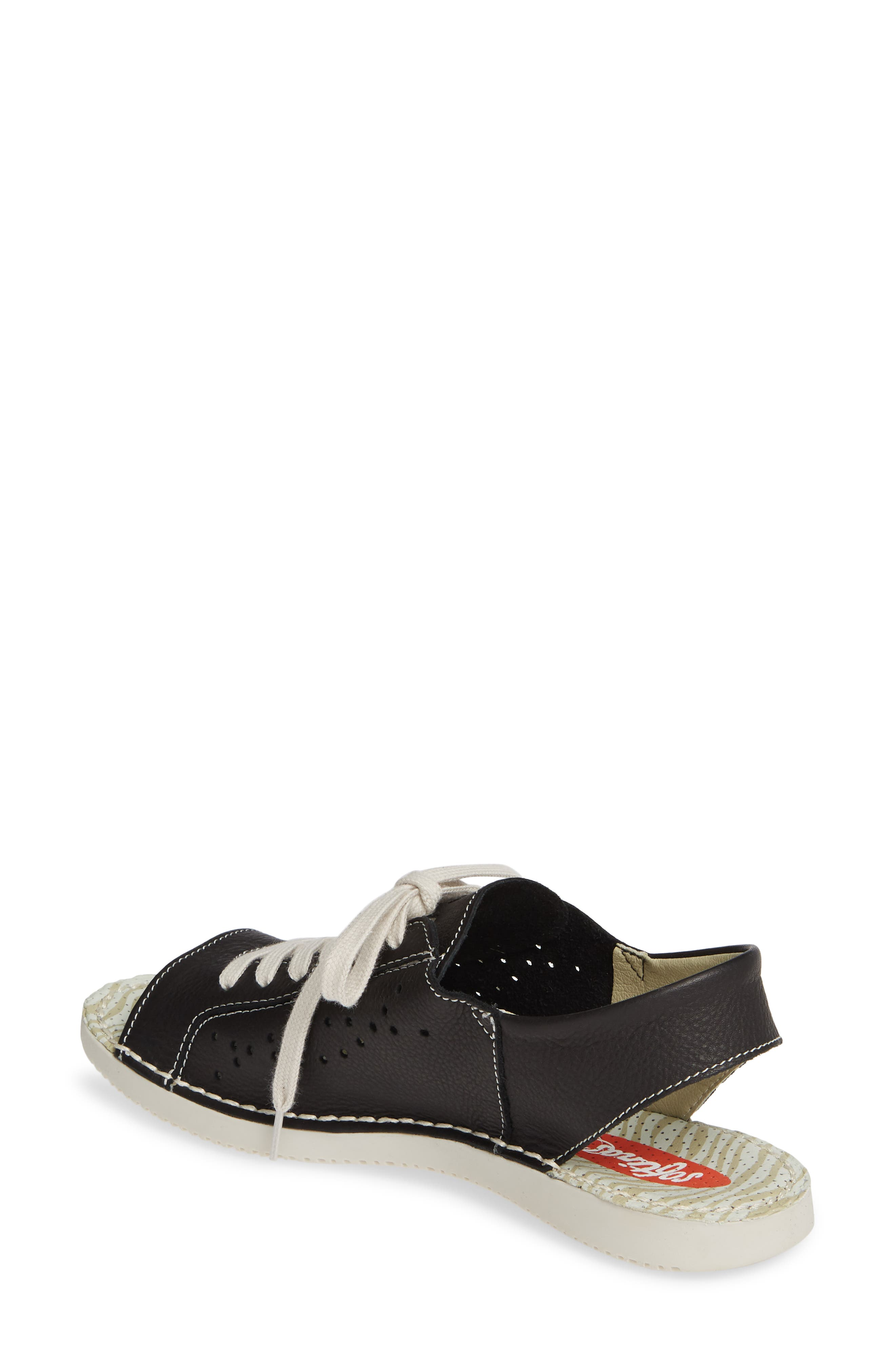 SOFTINOS BY FLY LONDON, Thi Slingback Sneaker Sandal, Alternate thumbnail 2, color, BLACK LEATHER