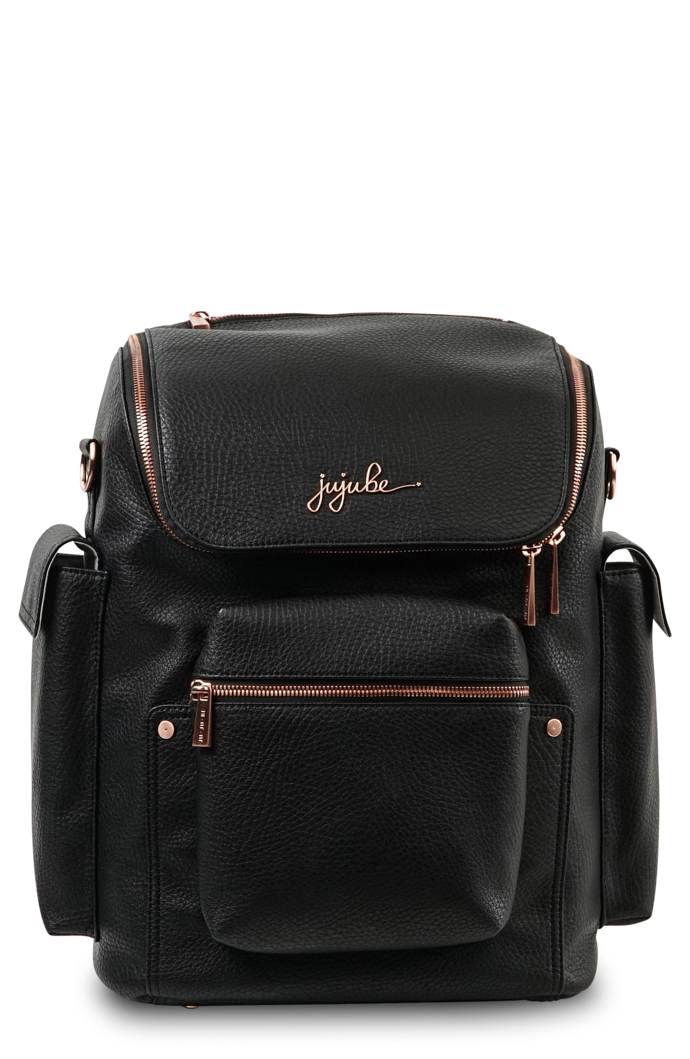 JU-JU-BE, Ever Collection Forever Faux Leather Diaper Backpack, Main thumbnail 1, color, NOIR NEW