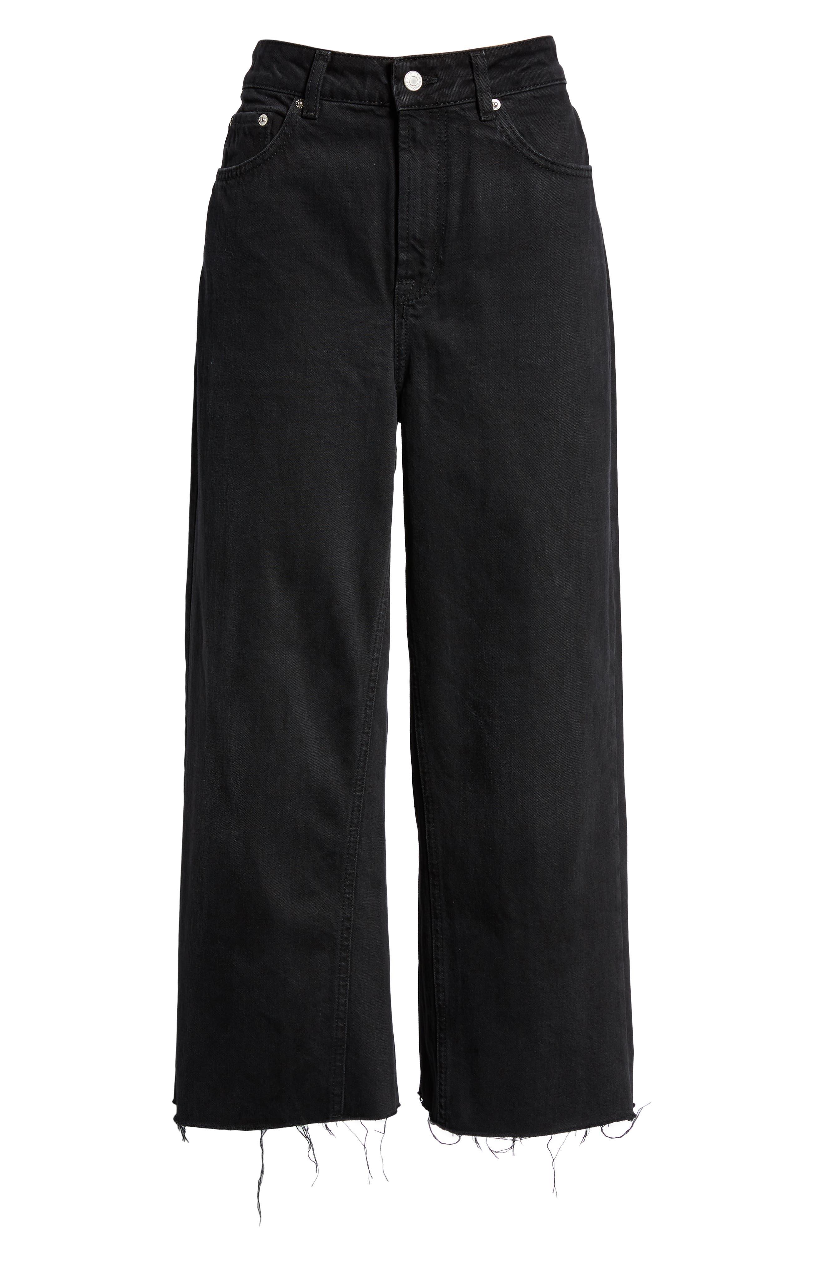 TOPSHOP, Wide Leg Crop Jeans, Alternate thumbnail 7, color, WASHED BLACK
