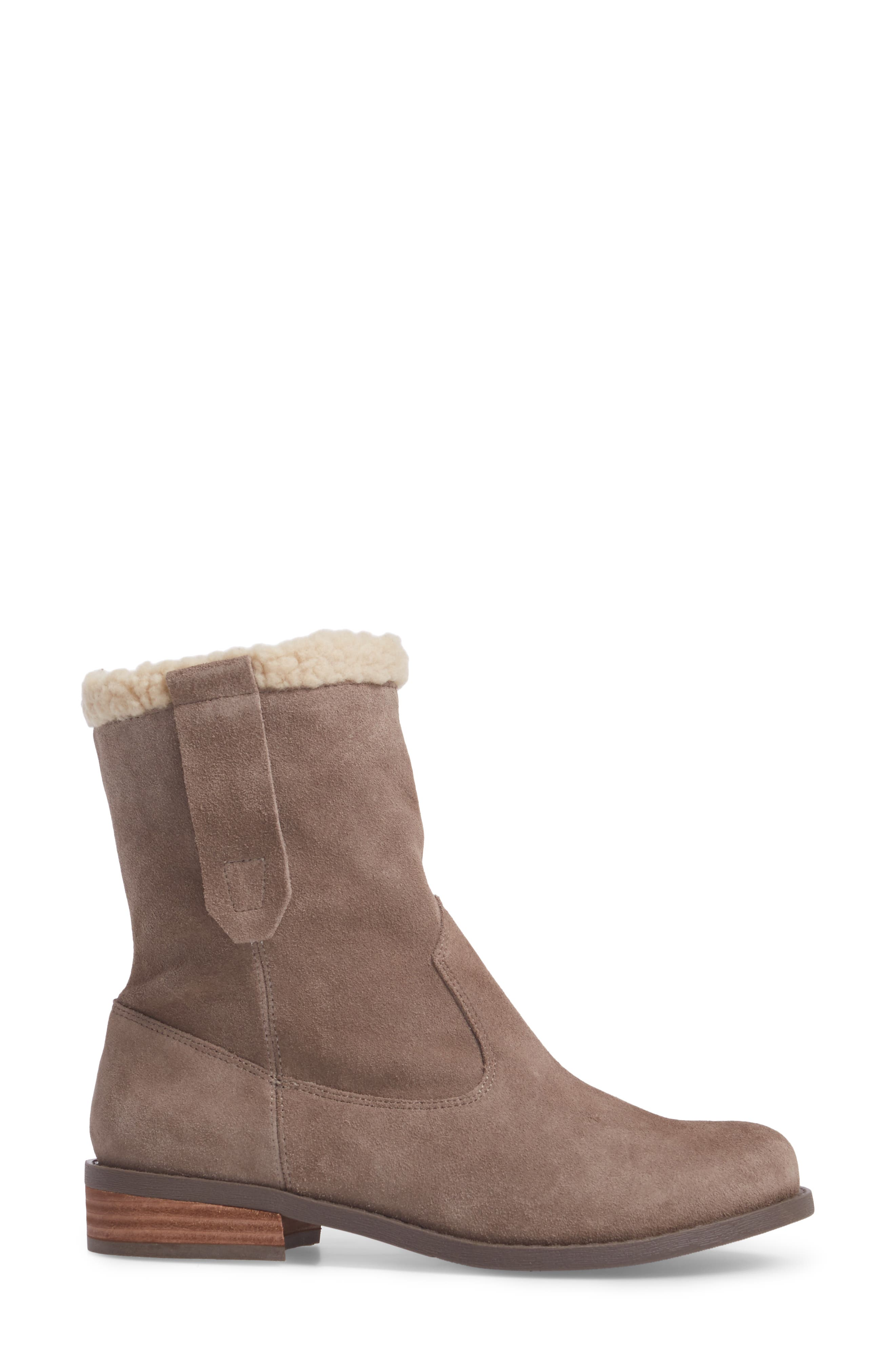 SOLE SOCIETY, Verona Faux Shearling Boot, Alternate thumbnail 3, color, DARK MUSHROOM SUEDE