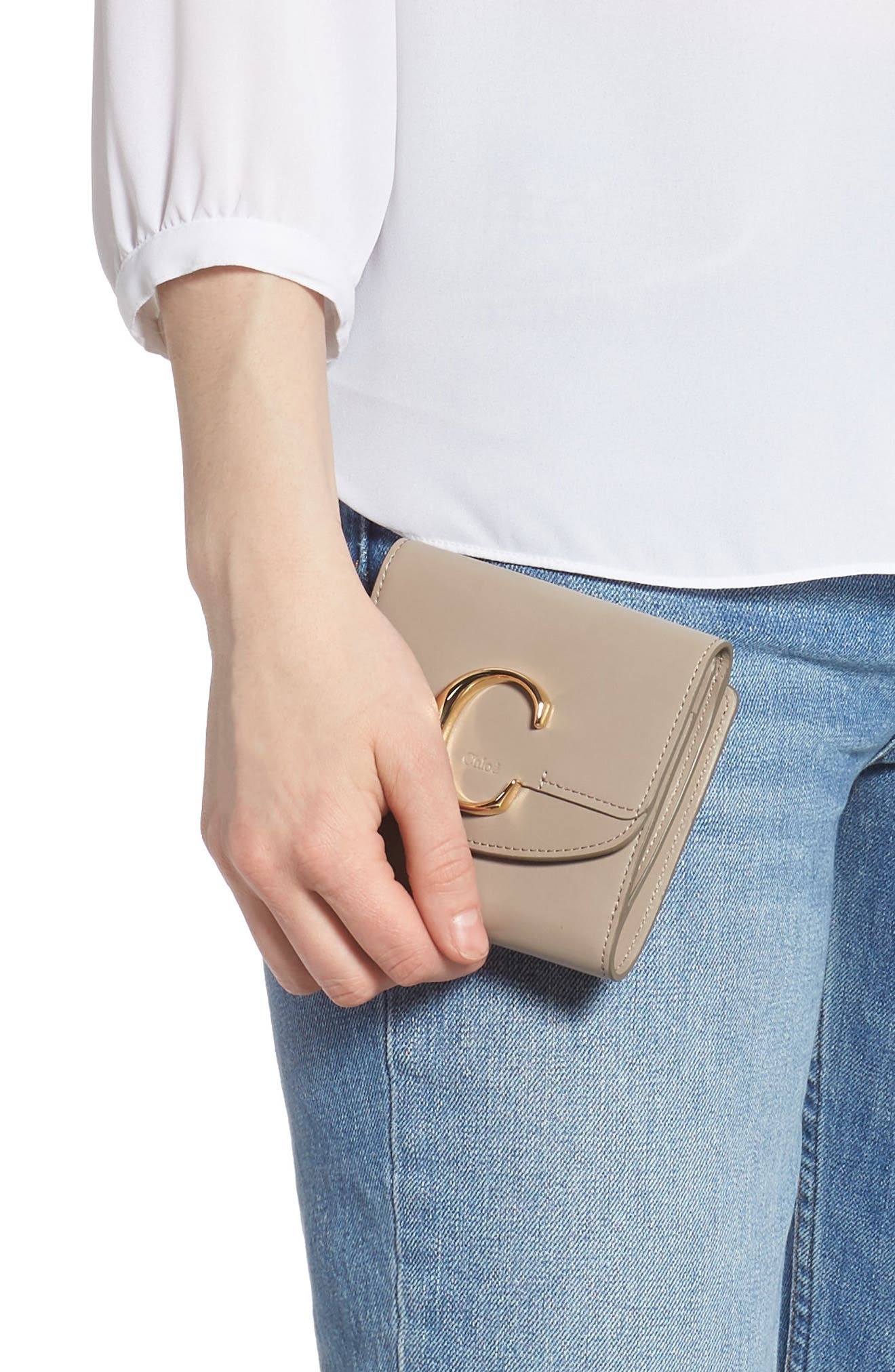 CHLOÉ, Square Leather Wallet, Alternate thumbnail 3, color, MOTTY GREY