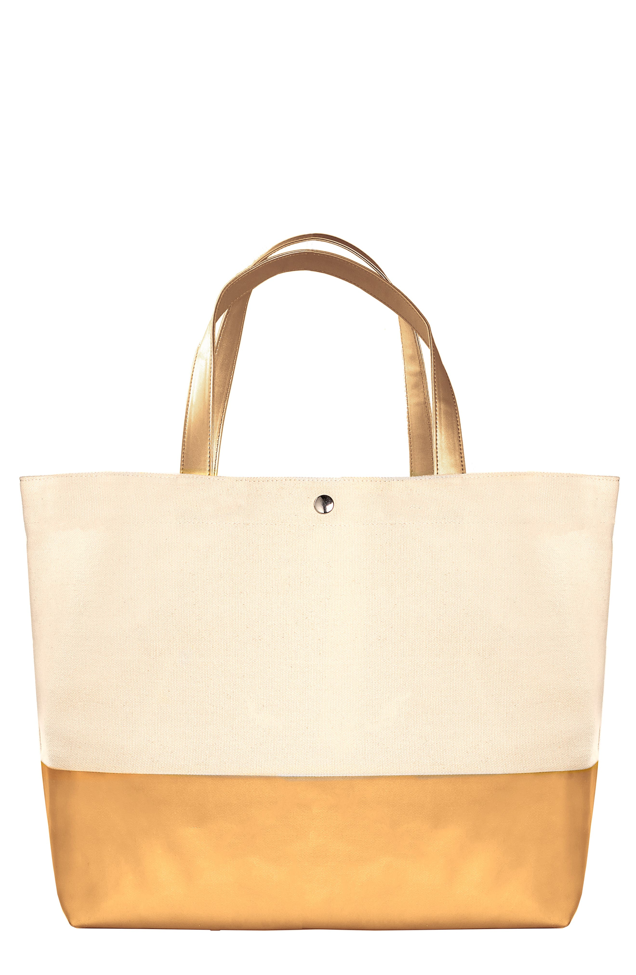 CATHY'S CONCEPTS, Monogram Canvas Tote, Main thumbnail 1, color, GOLD