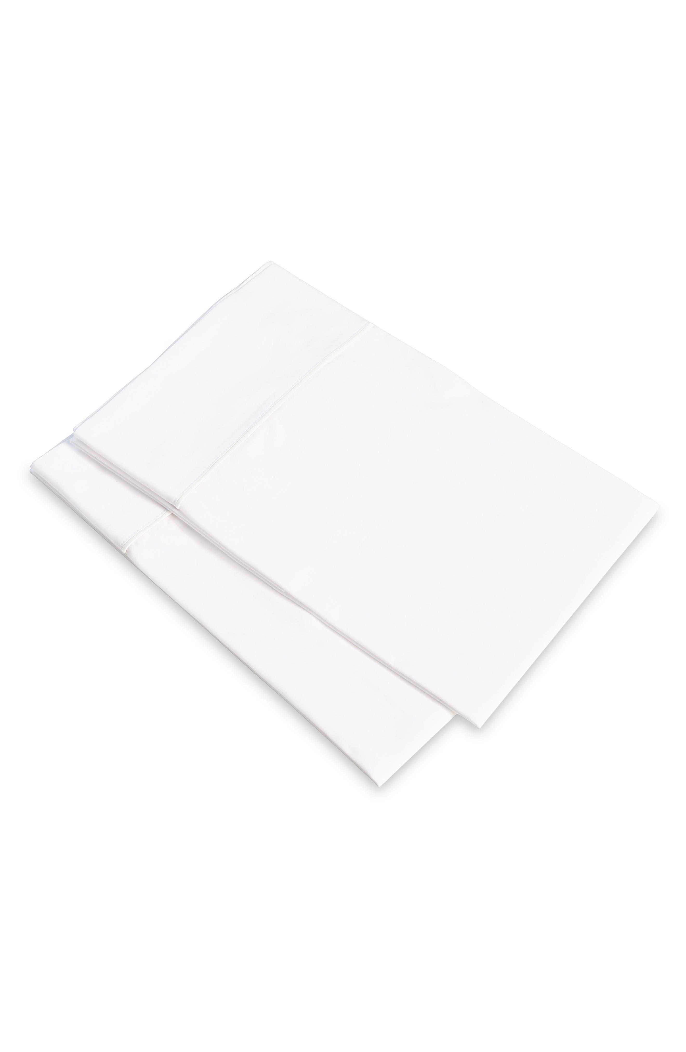 SIGNORIA FIRENZE, Luce 600 Thread Count Set of 2 Pillowcases, Main thumbnail 1, color, WHITE/WHITE