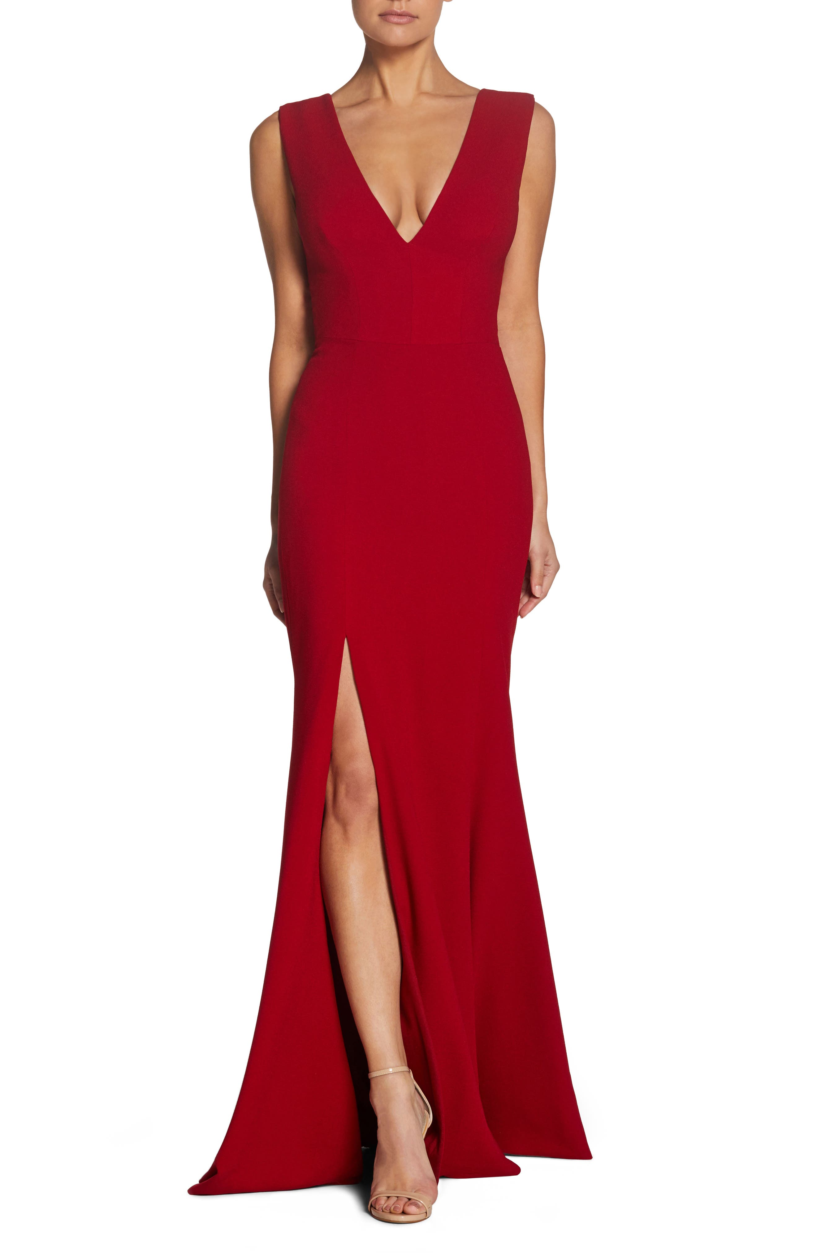Dress The Population Sandra Plunge Crepe Trumpet Gown, Red