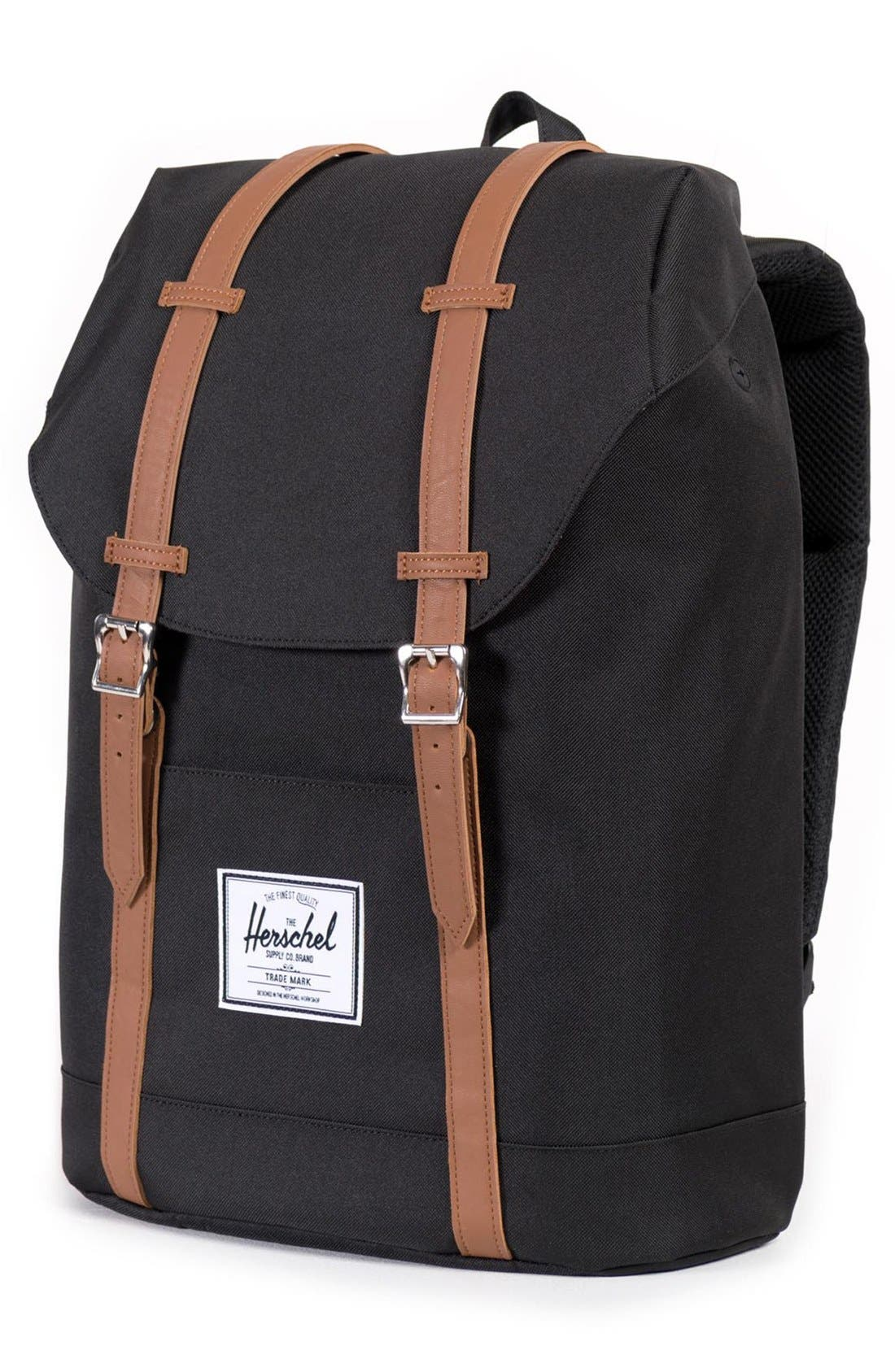 HERSCHEL SUPPLY CO., 'Retreat' Backpack, Alternate thumbnail 6, color, BLACK