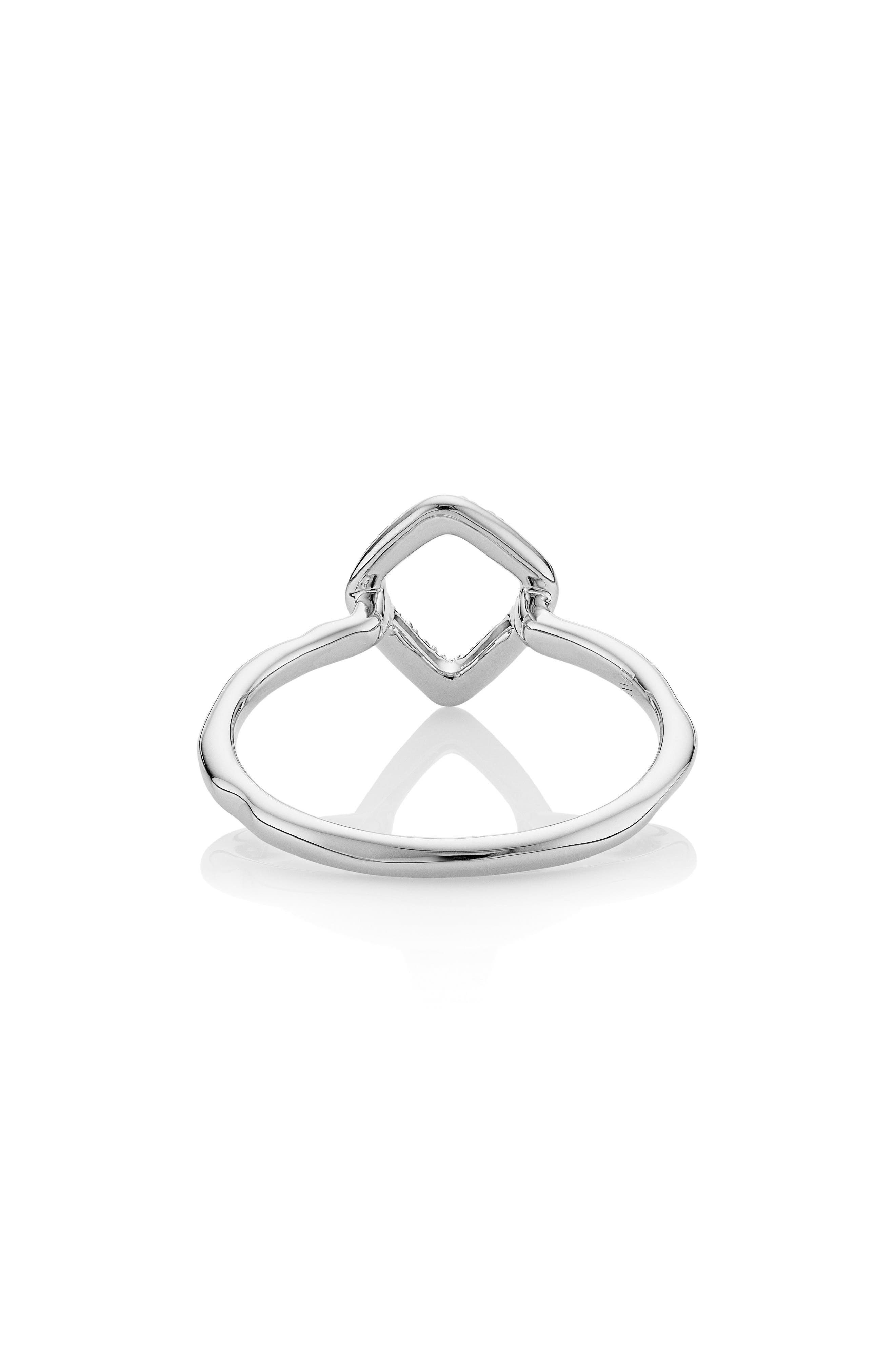 MONICA VINADER, Riva Mini Kite Diamond Stacking Ring, Alternate thumbnail 2, color, SILVER