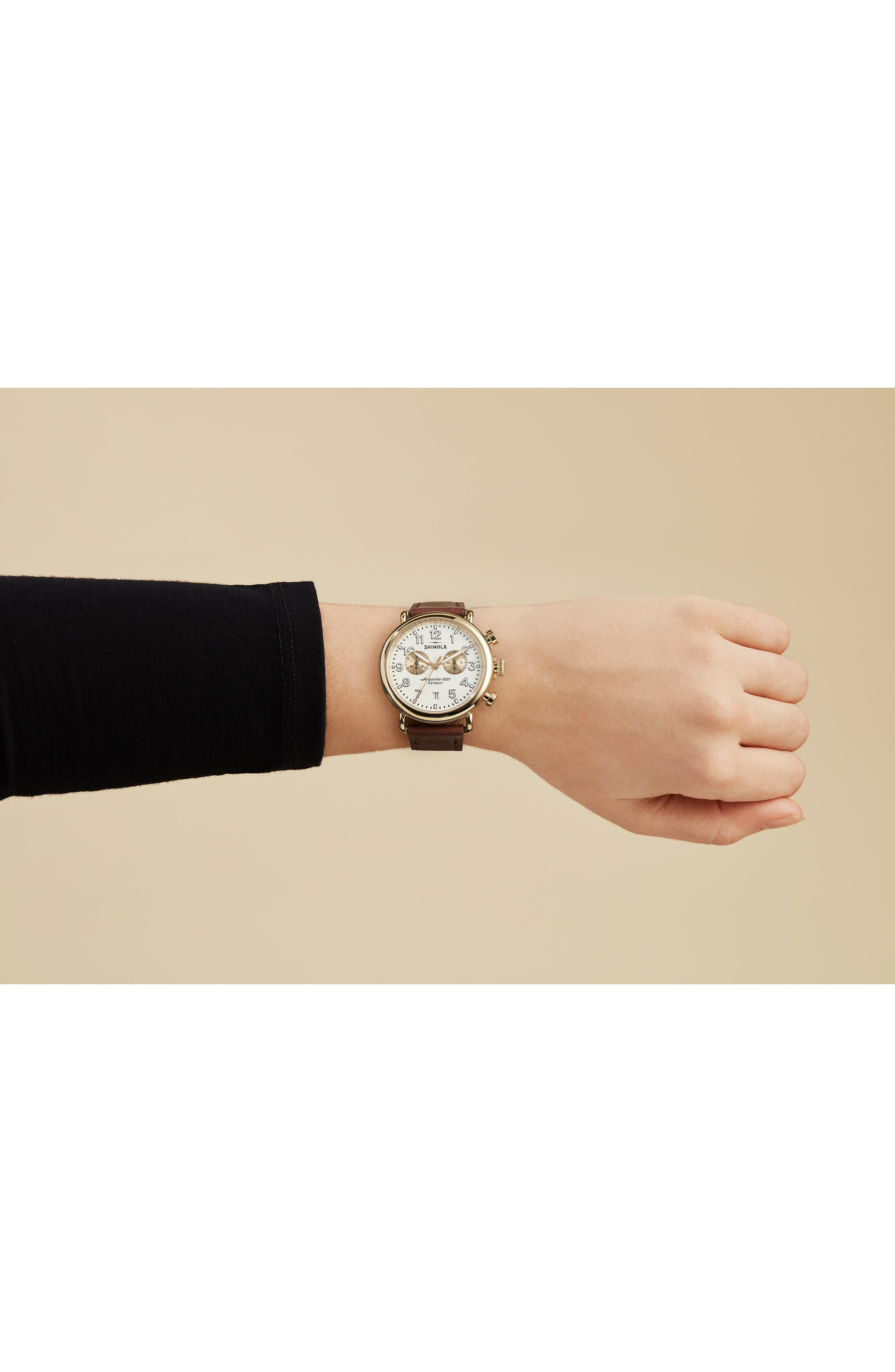SHINOLA, 'The Runwell Chrono' Leather Strap Watch, 41mm, Alternate thumbnail 2, color, BROWN CATTAIL/ IVORY/ GOLD