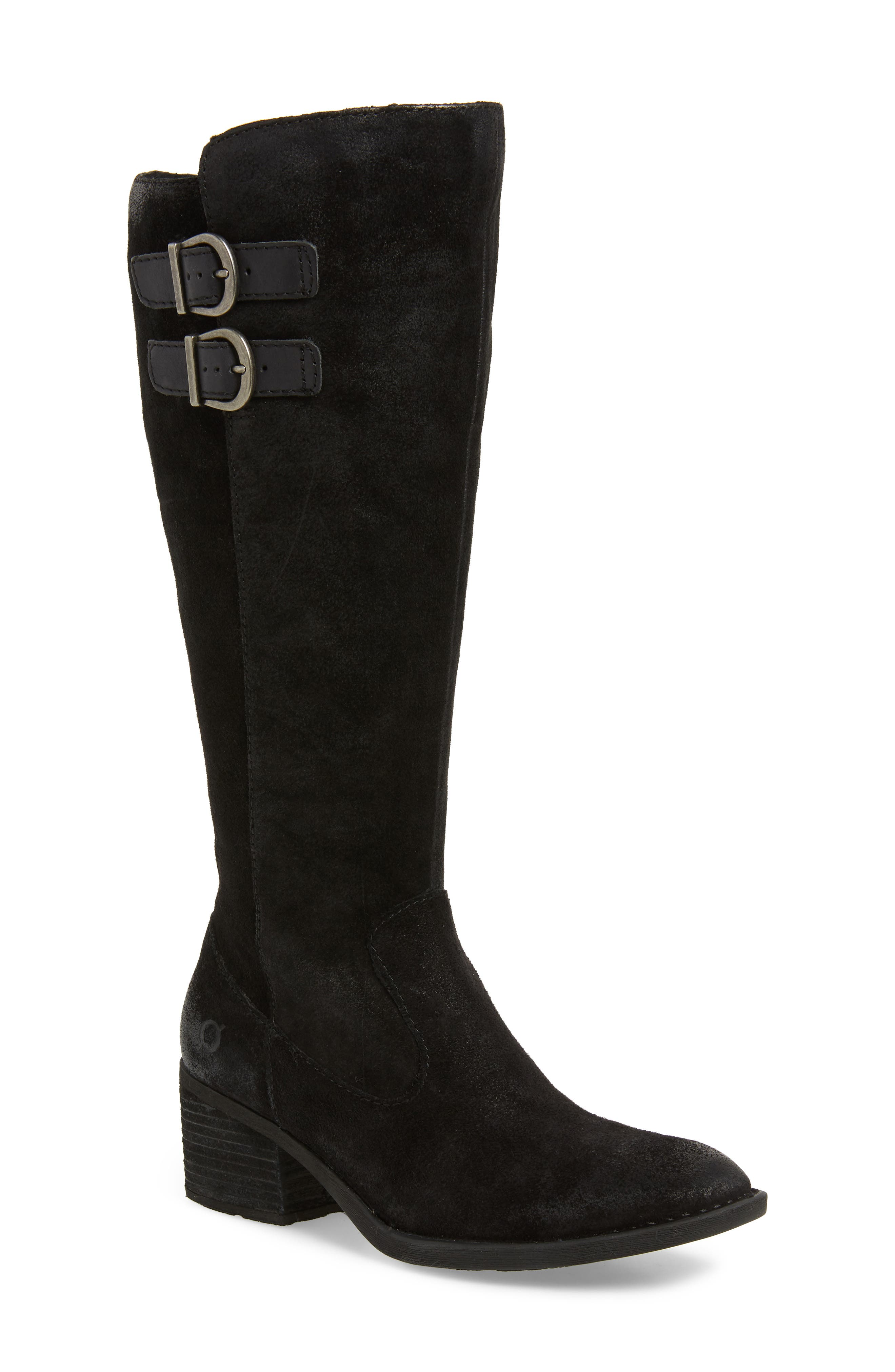 BØRN Basil Knee High Boot, Main, color, BLACK DISTRESSED LEATHER