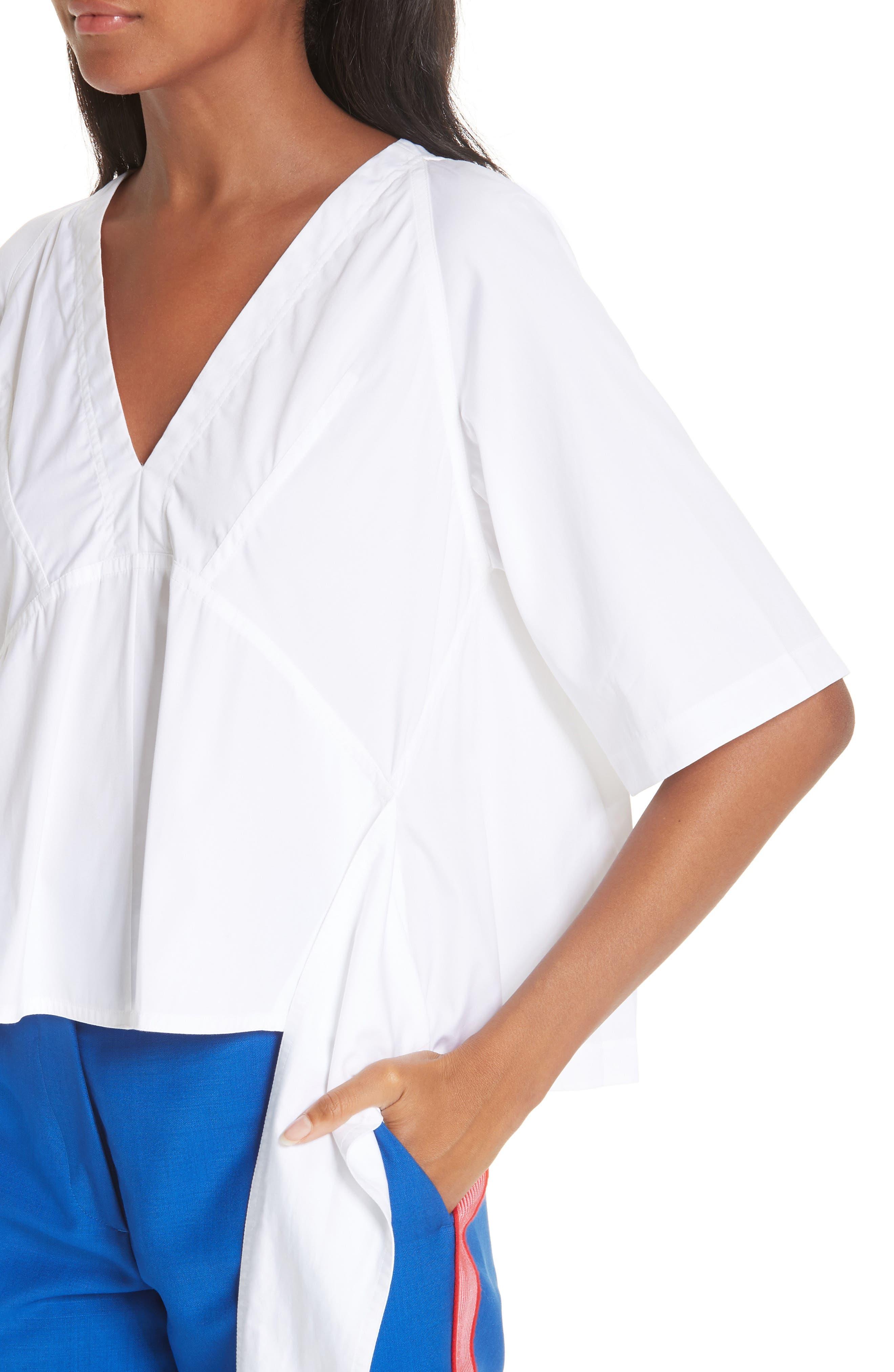 CALVIN KLEIN 205W39NYC, Sash Detail Cotton Poplin Top, Alternate thumbnail 5, color, OPTIC WHITE