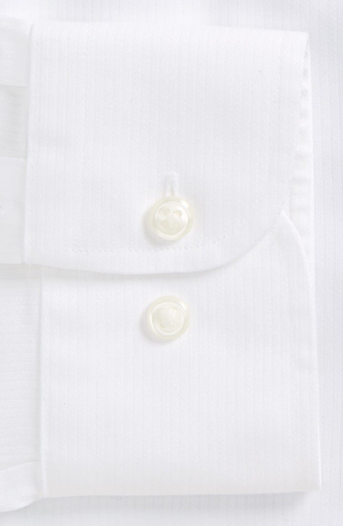 NORDSTROM MEN'S SHOP, Smartcare<sup>™</sup> Trim Fit Dress Shirt, Alternate thumbnail 6, color, WHITE