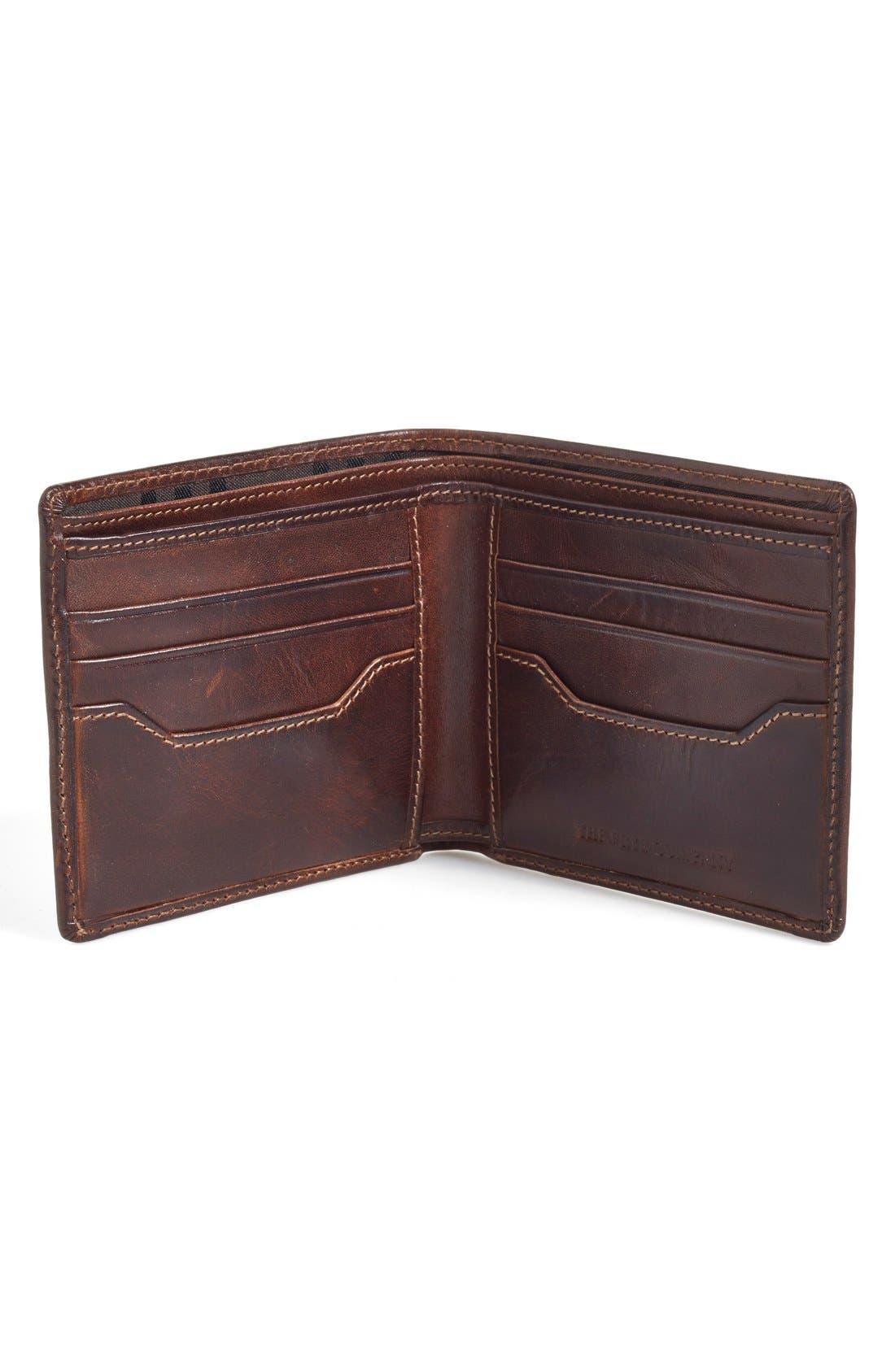 FRYE, 'Logan' Leather Billfold Wallet, Alternate thumbnail 3, color, SLATE