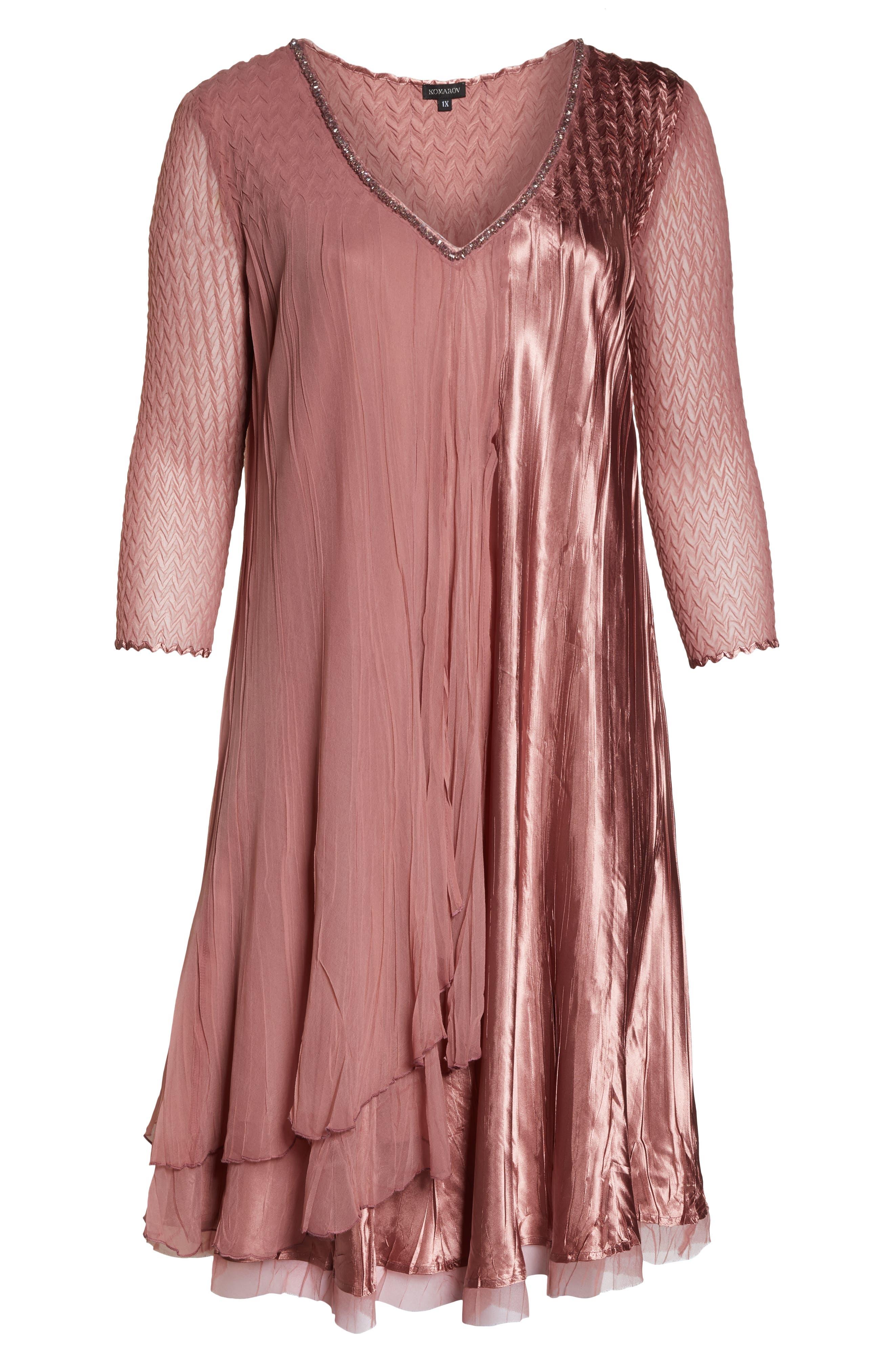 KOMAROV, Tiered A-Line Dress, Alternate thumbnail 7, color, 680