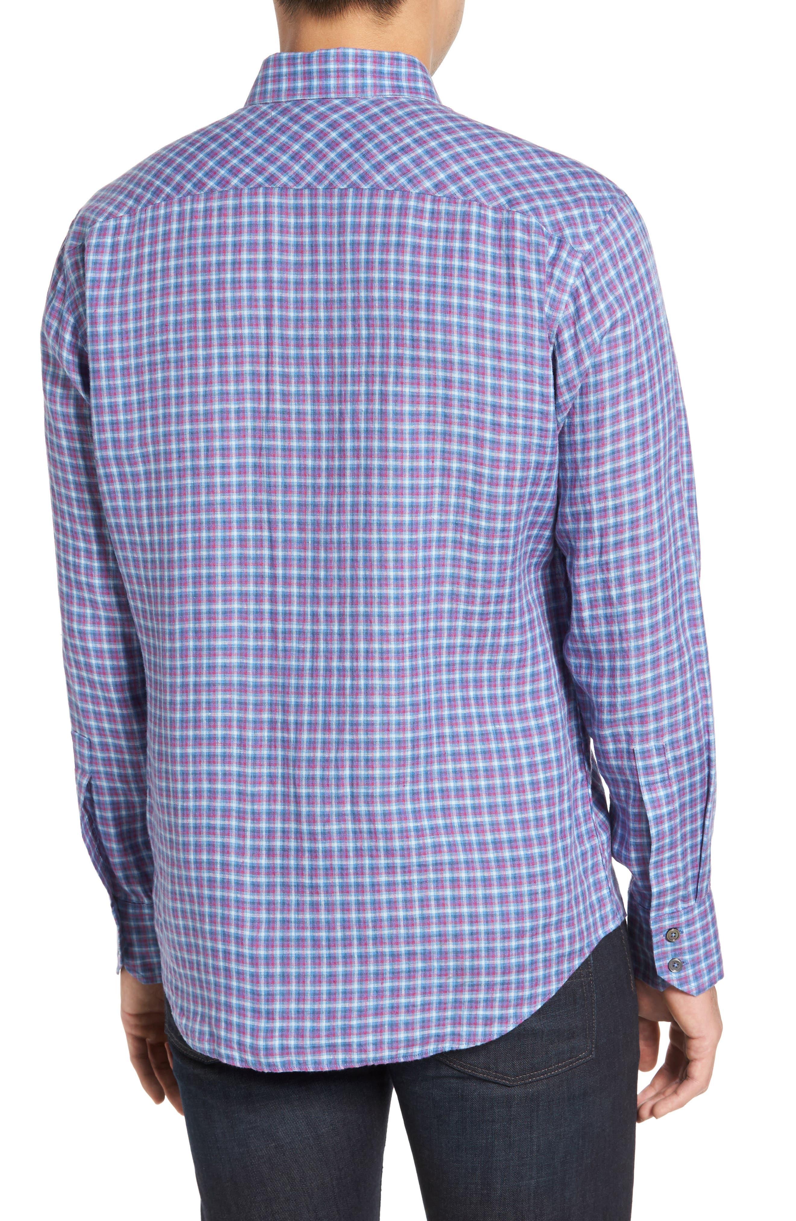 ZACHARY PRELL, Althoff Regular Fit Plaid Linen Sport Shirt, Alternate thumbnail 2, color, AZURE