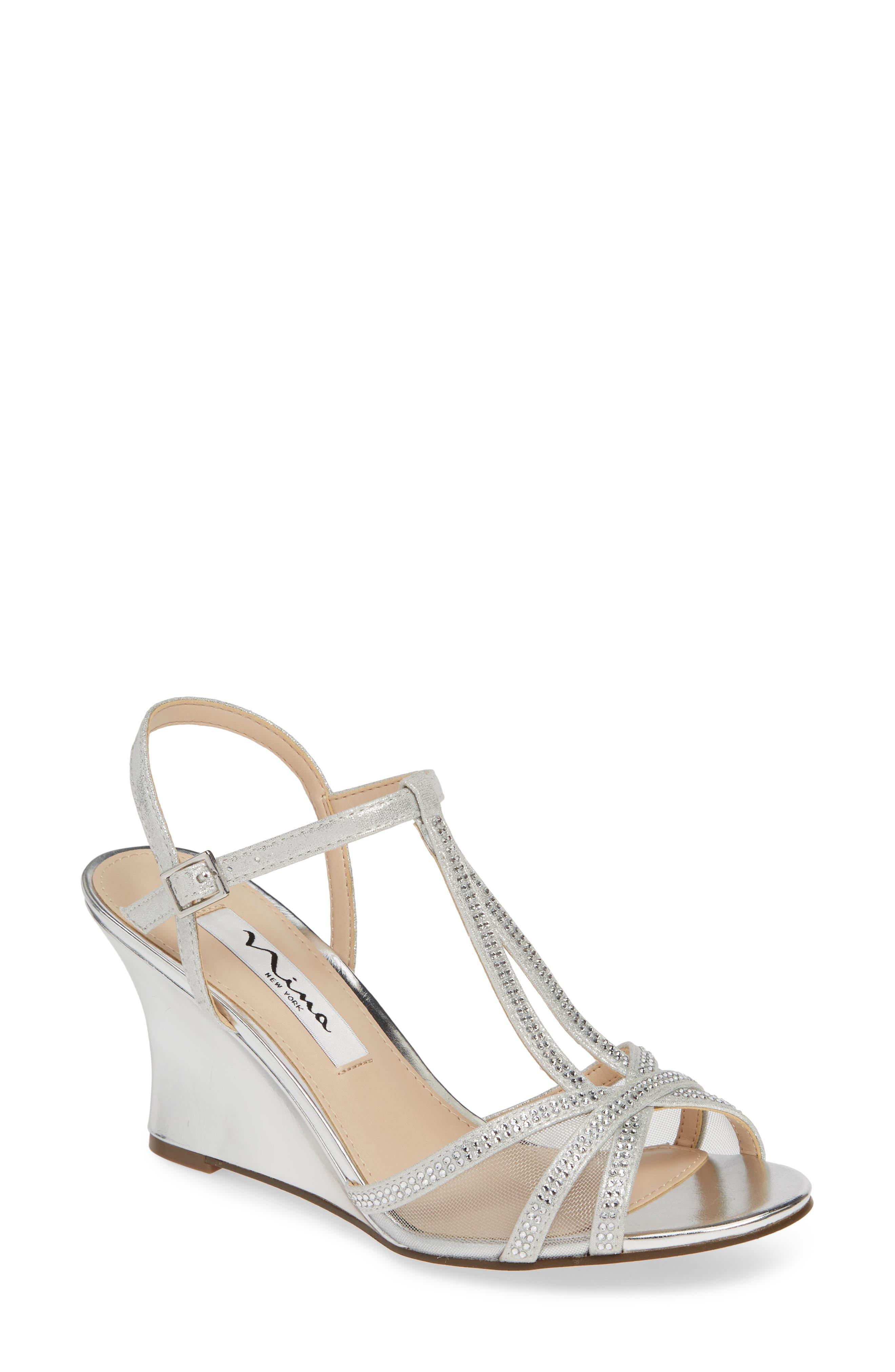 Nina Viveca Wedge Sandal, Metallic