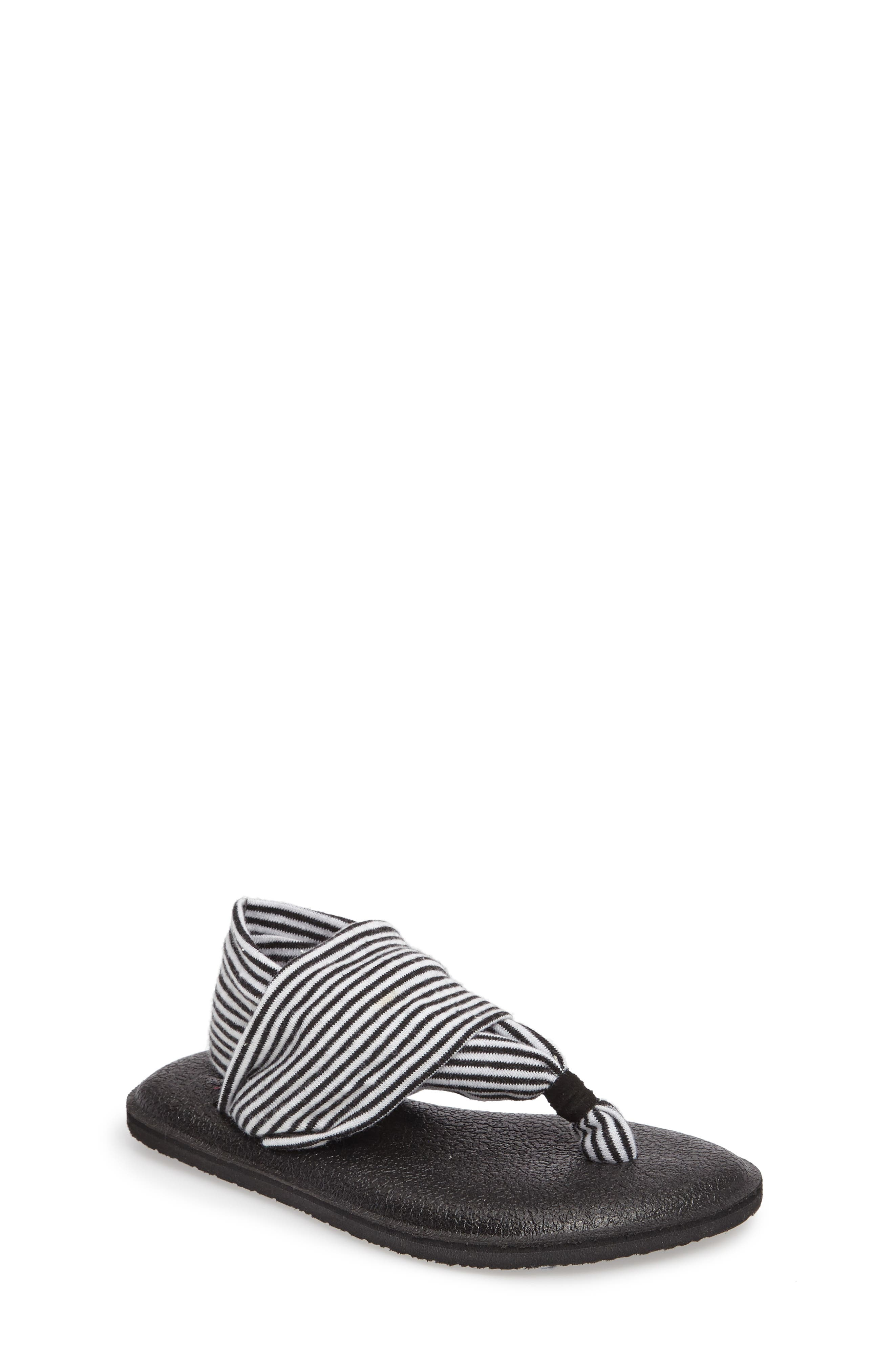 SANUK 'Yoga Sling' Sandal, Main, color, BLACK/ WHITE STRIPE