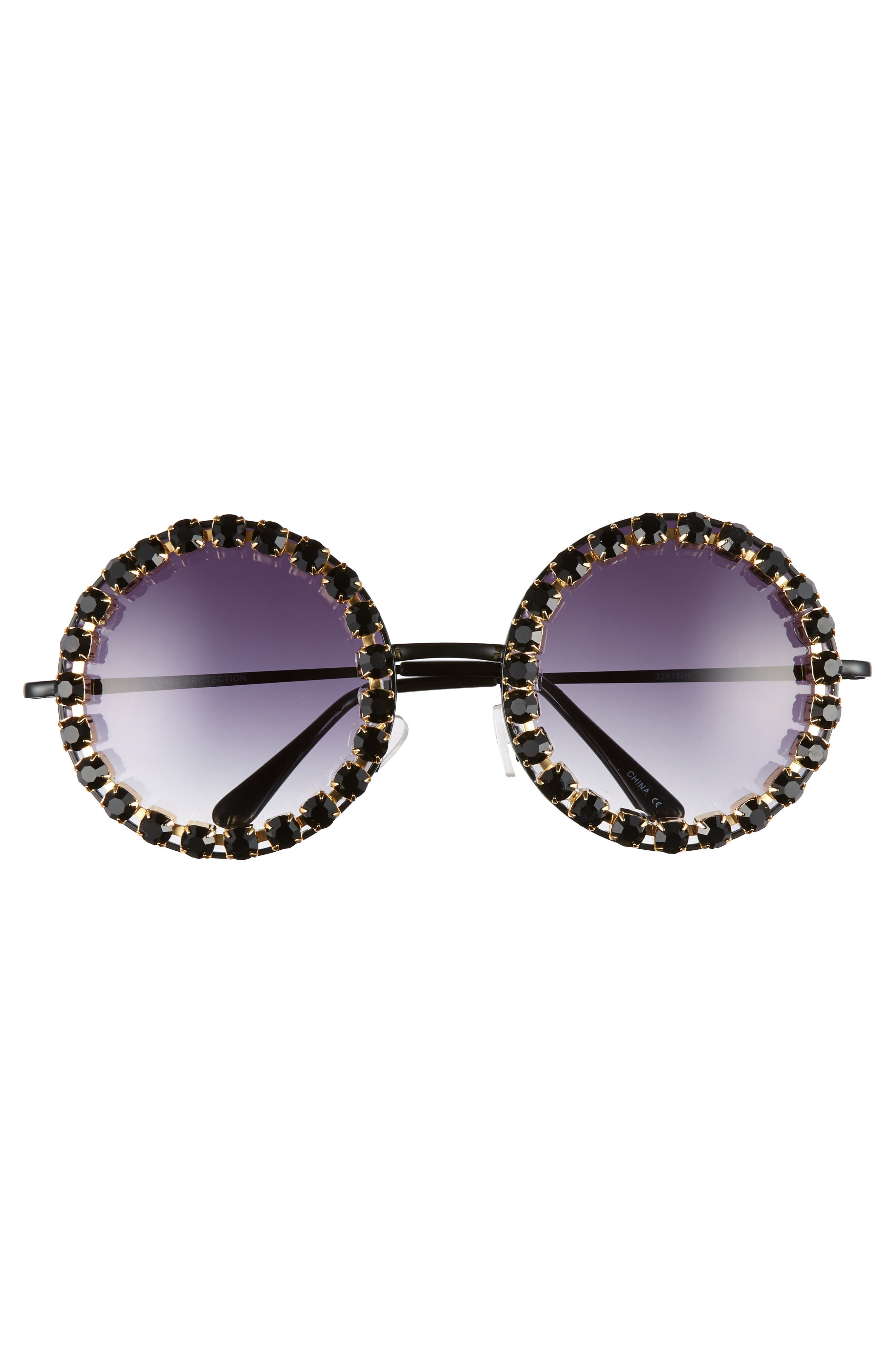 RAD + REFINED, Rhinestone Round Sunglasses, Alternate thumbnail 3, color, BLACK