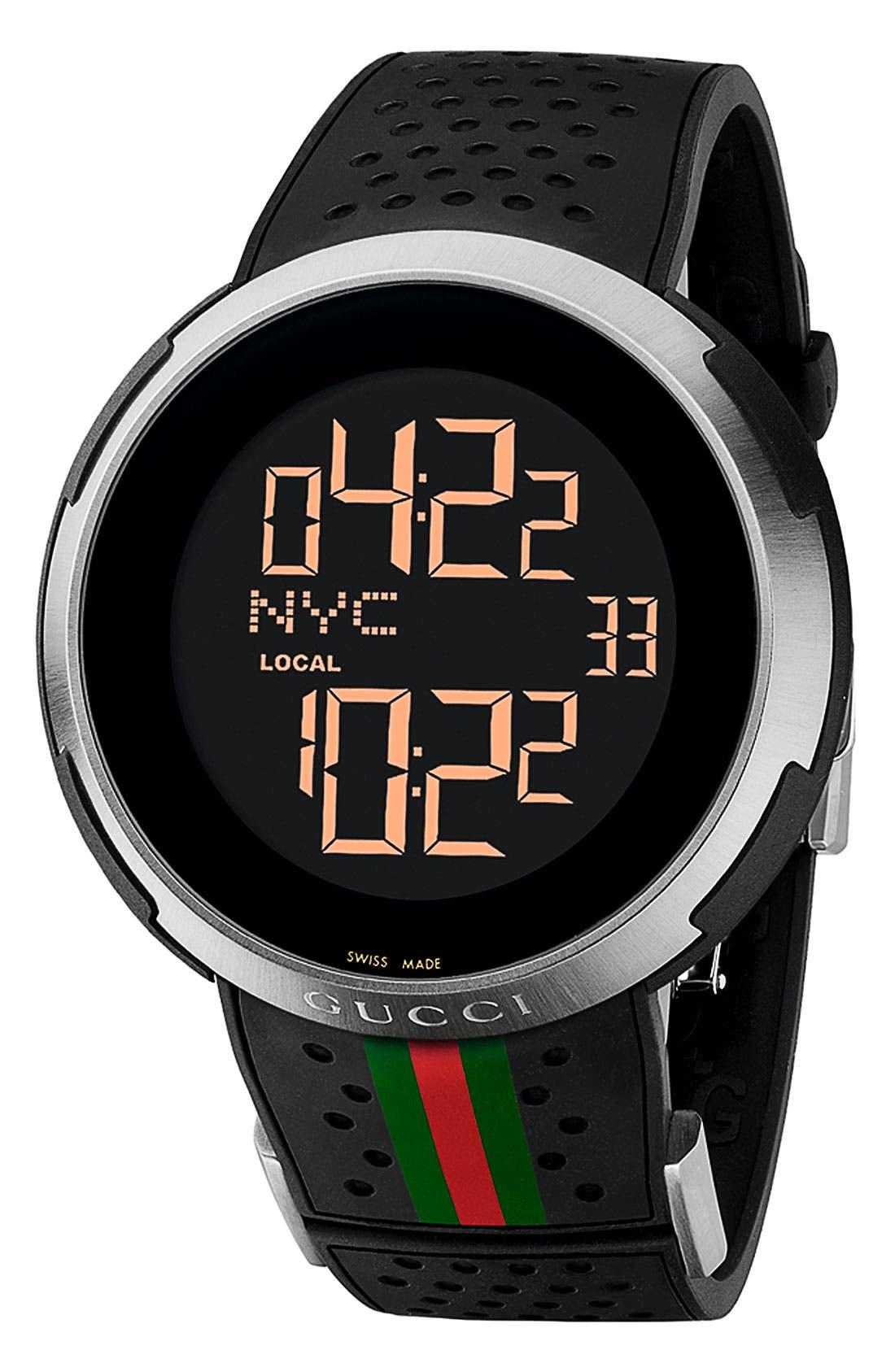 GUCCI 'I Gucci' Rubber Strap Watch, 49mm, Main, color, 001