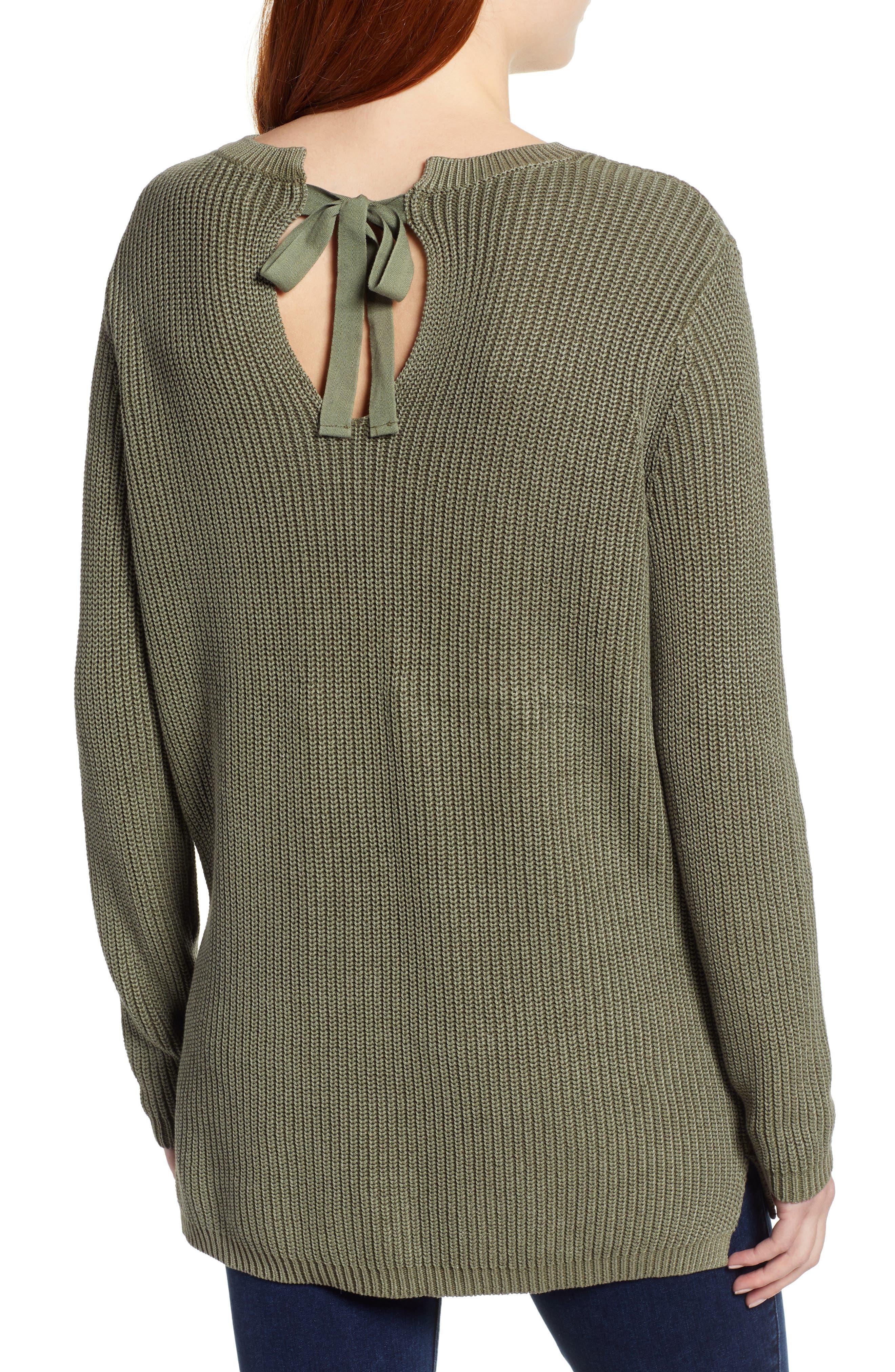 CASLON<SUP>®</SUP>, Tie Back Tunic Sweater, Alternate thumbnail 2, color, OLIVE SARMA