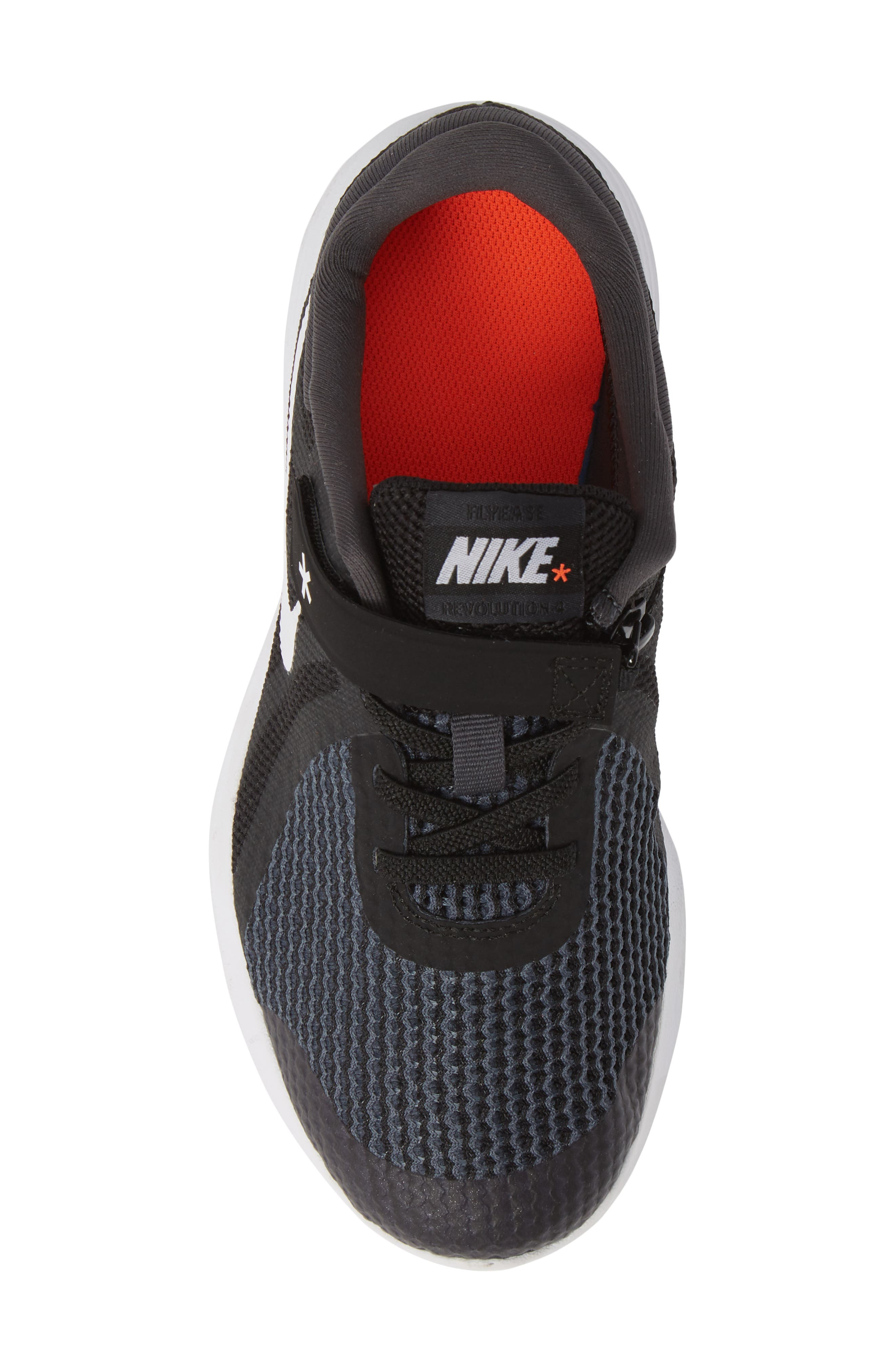 NIKE, Revolution 4 Flyease 4E Sneaker, Alternate thumbnail 5, color, BLACK ANTHRACITE CRIMSON