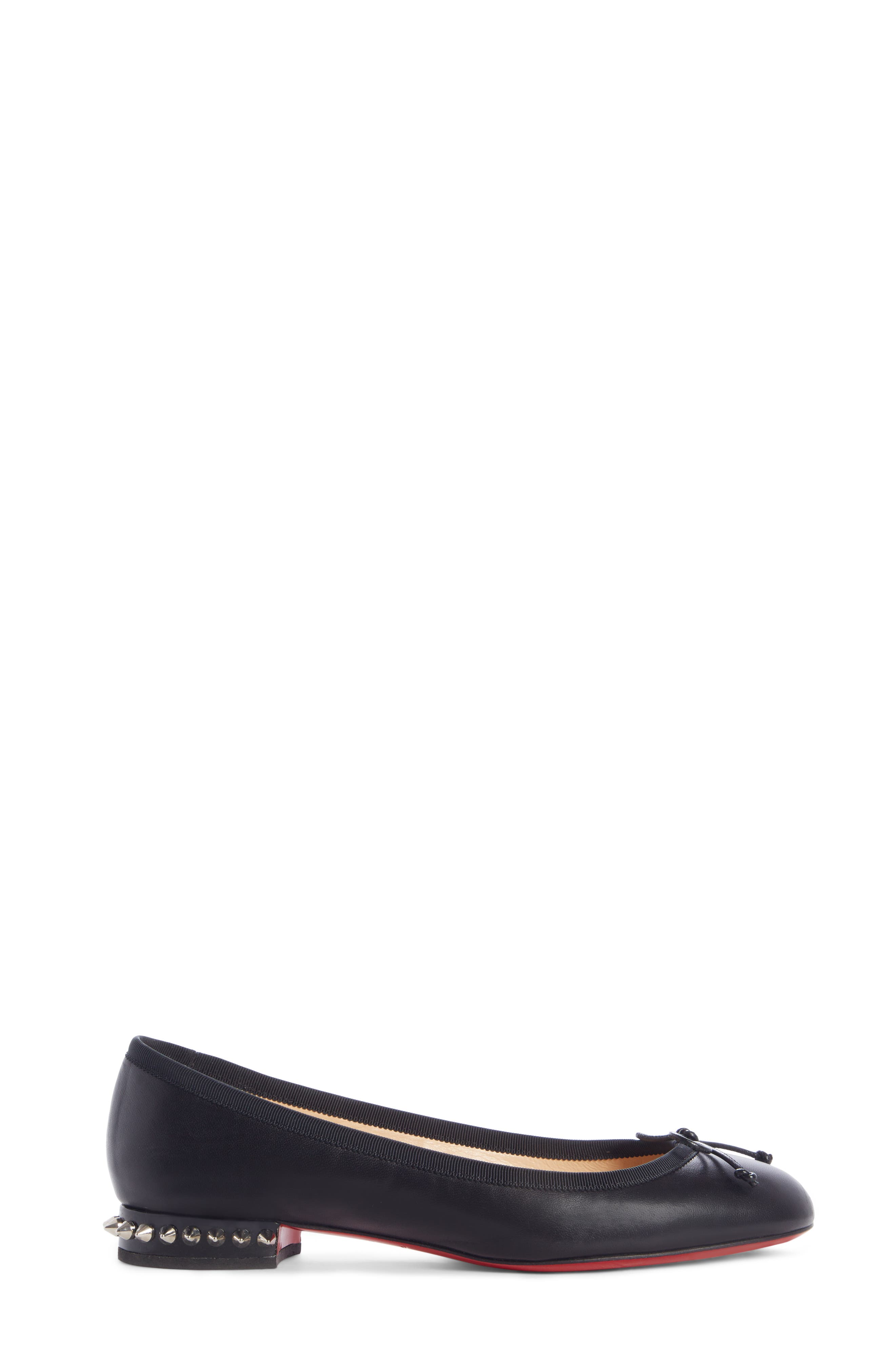 CHRISTIAN LOUBOUTIN, La Massine Spike Flat, Alternate thumbnail 3, color, BLACK